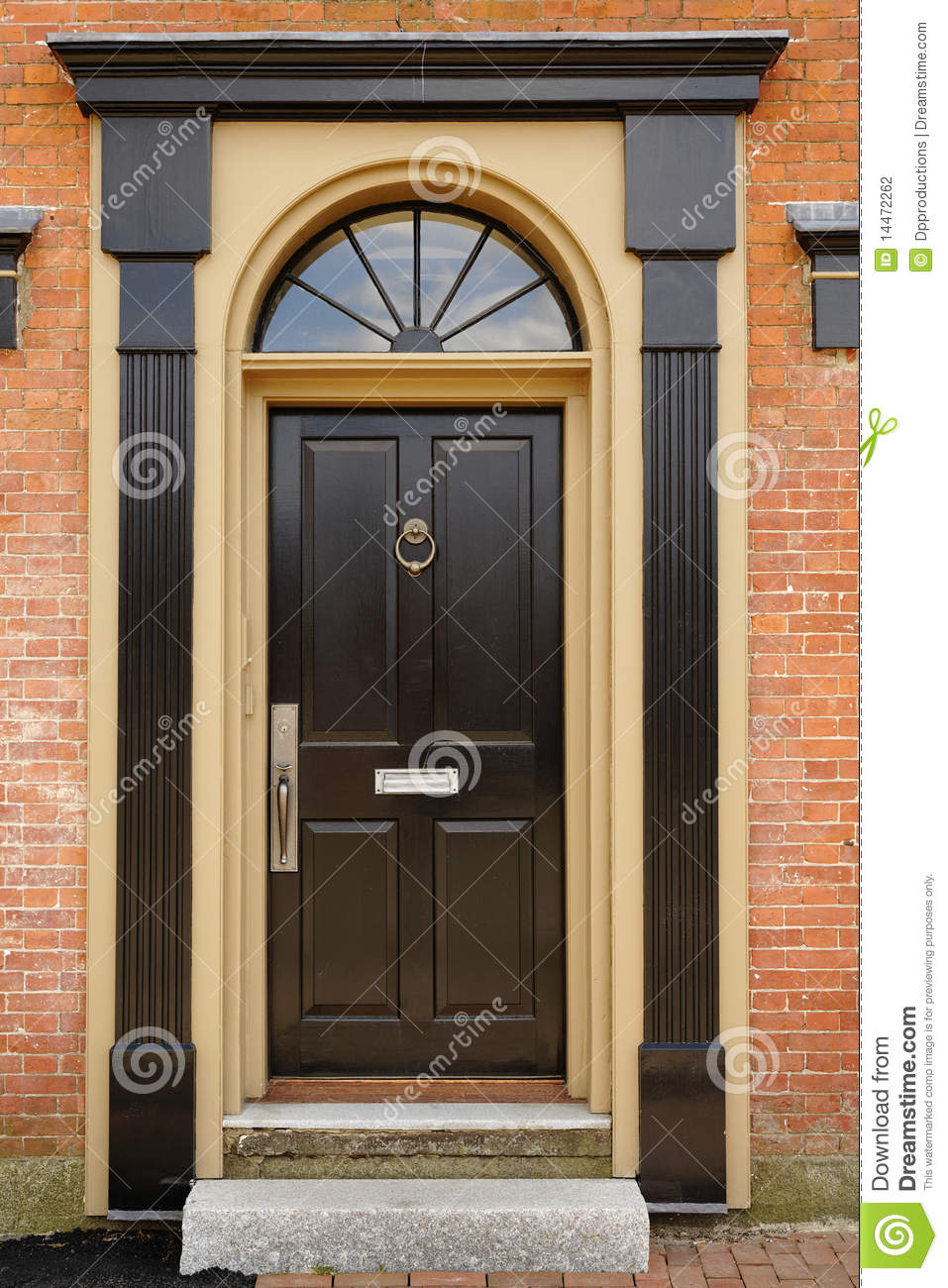 Elegant Front Door In A Brick Building Stock Photo Image Of Arched