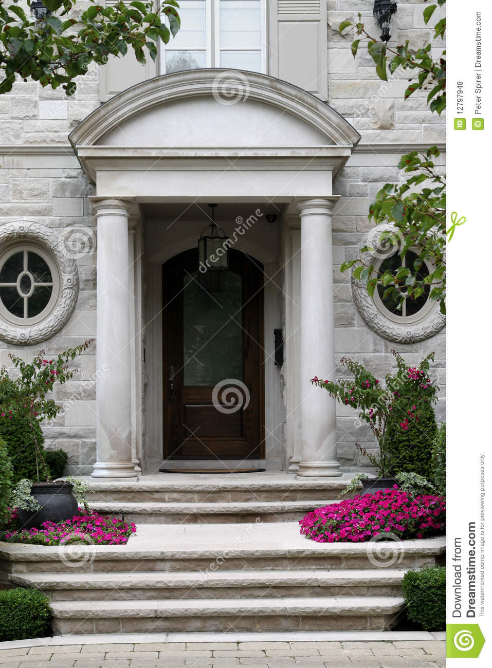 Elegant front door with flowers stock photo image 12797948 for Elegant front doors
