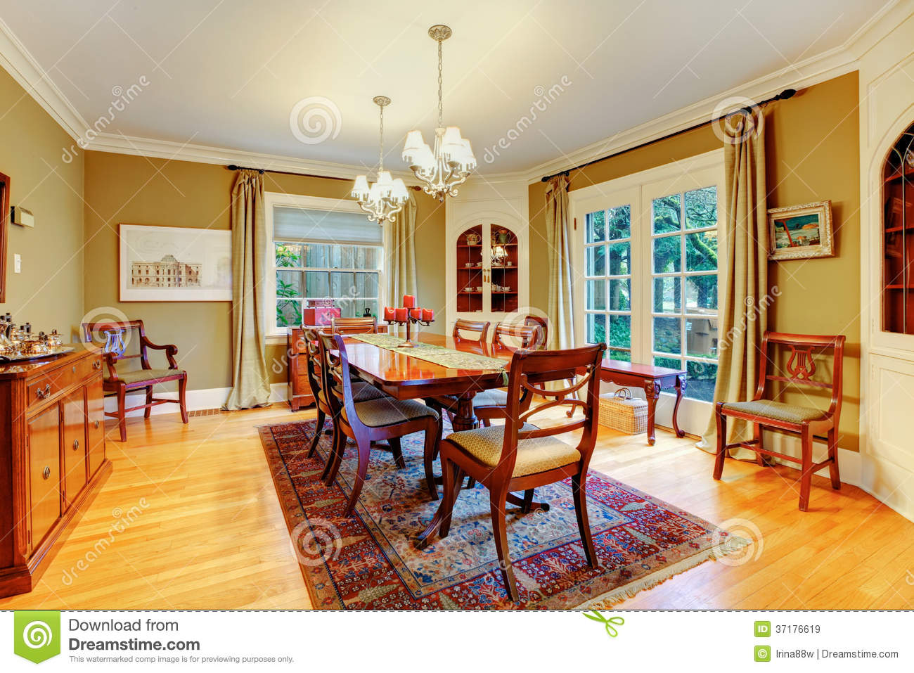 Elegant Furnished Dining Room With Wooden Rustic Dining