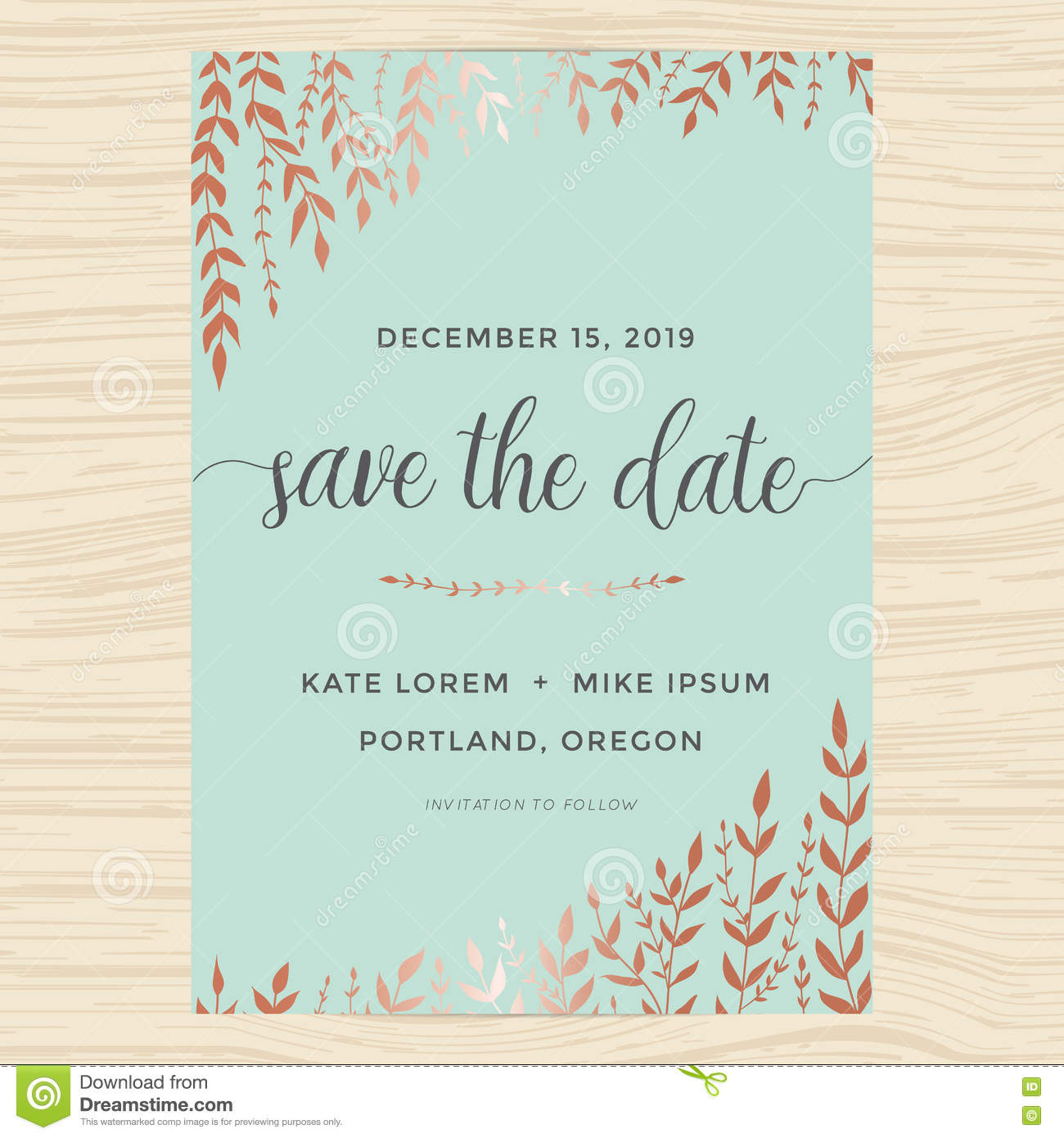 Elegant Garden Leafs In Copper Color Design For Save The Date Card, Wedding  Invitation Template