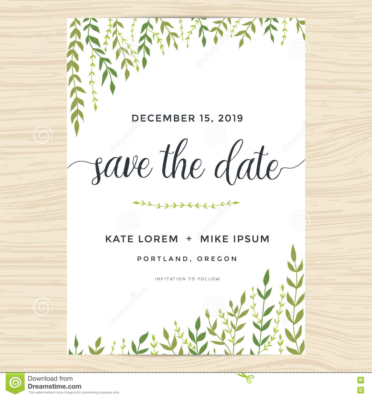 Elegant Garden Leafs Design For Save The Date Card, Wedding