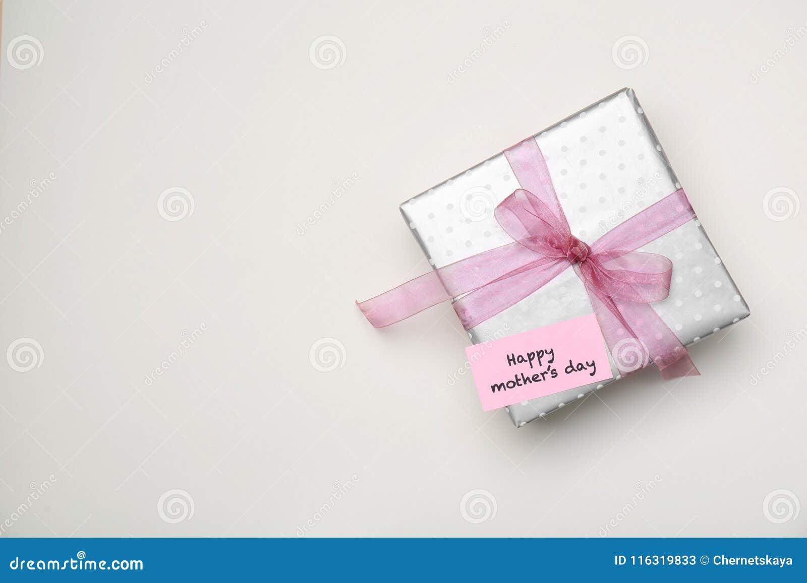 Elegant Gift Box For Mothers Day On Light Background