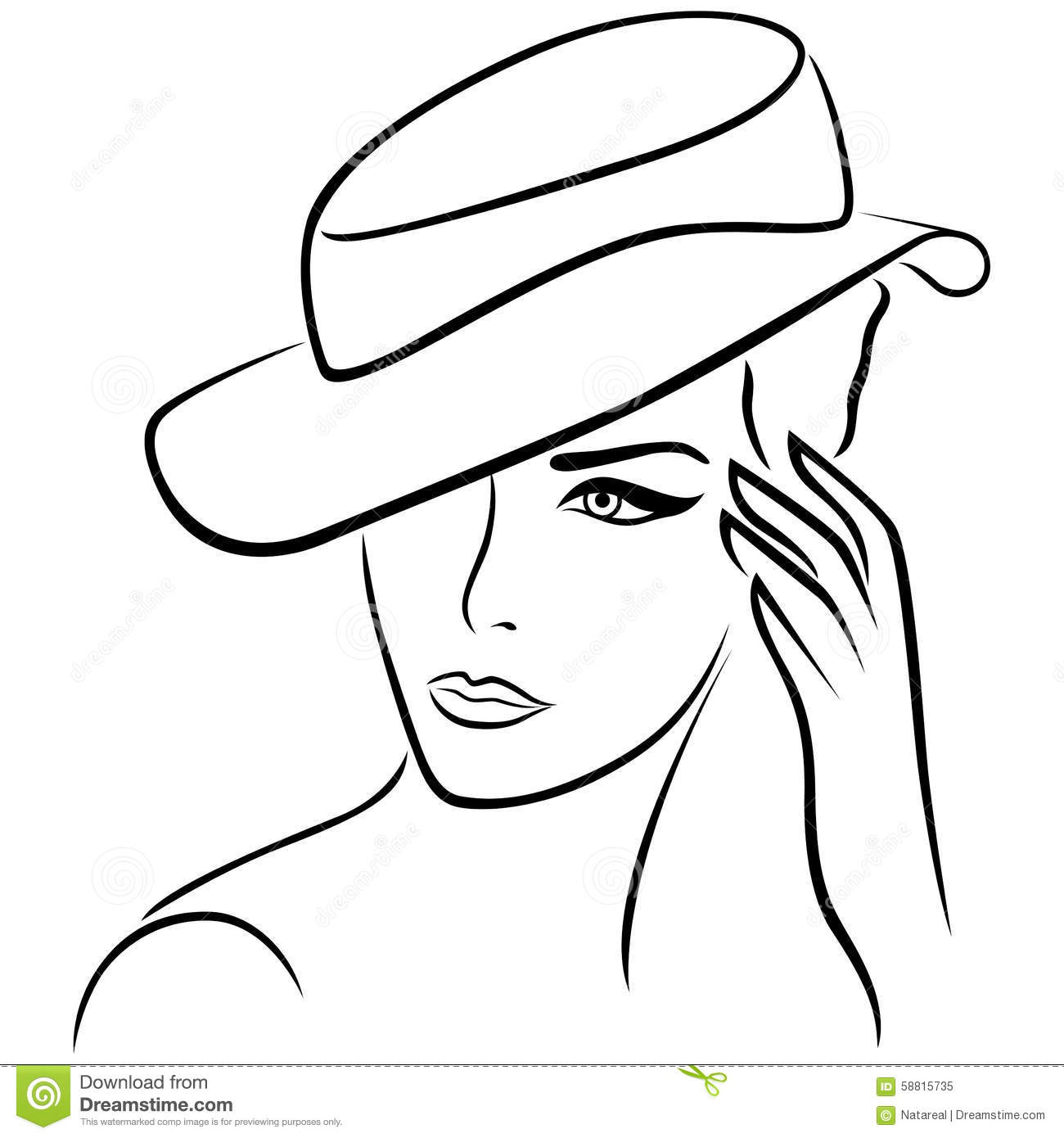 Elegant Girl In A Hat Stock Vector. Image Of Feminine