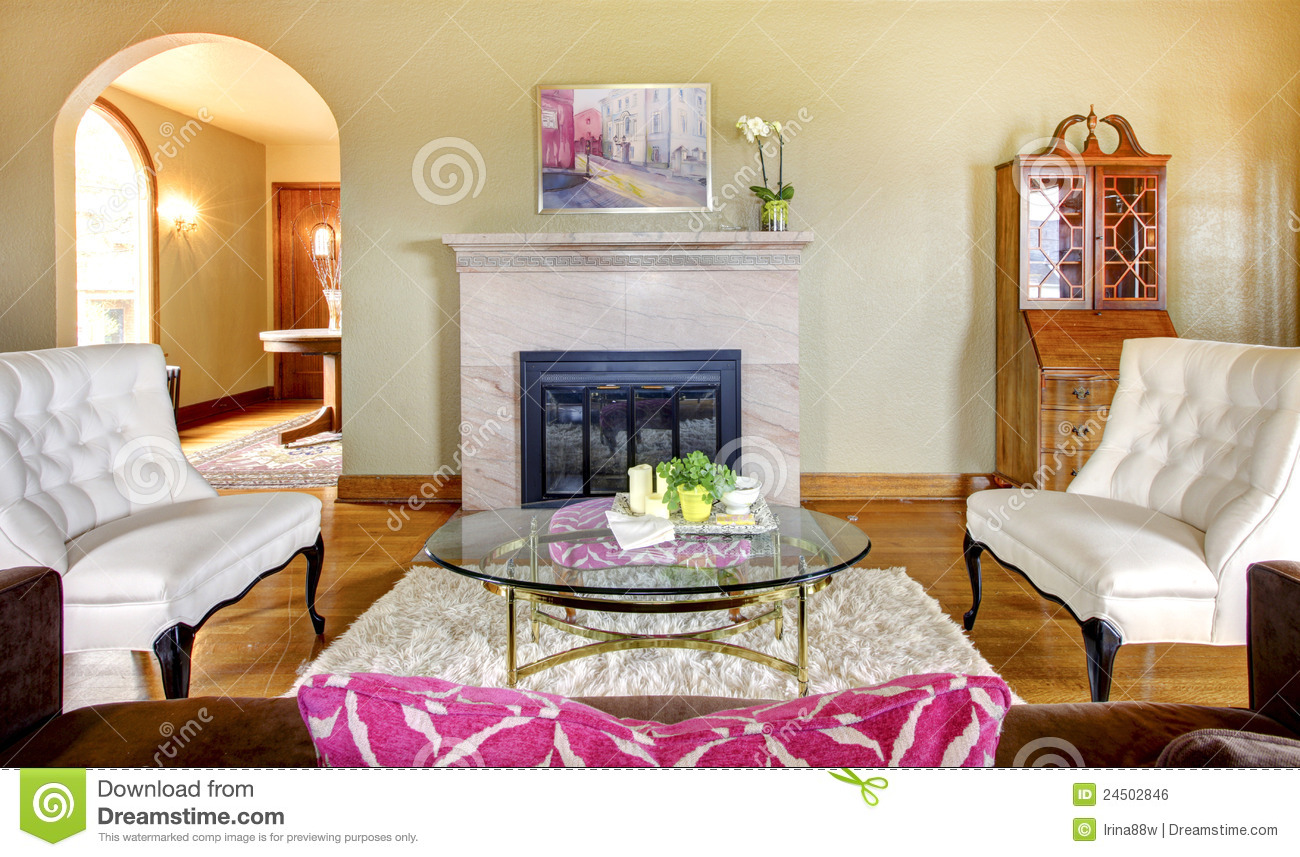 Elegant gold and pink fireplace living room royalty free - Pink and gold living room ...
