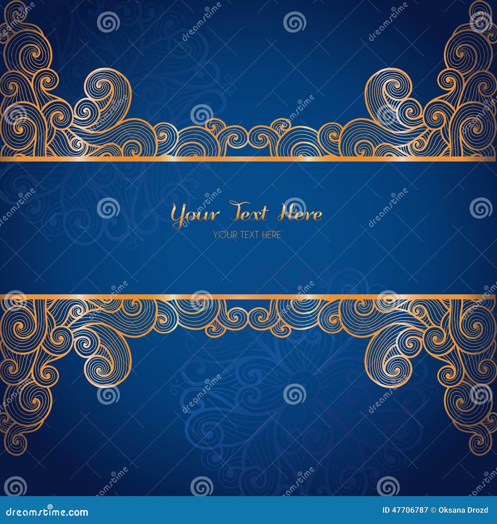 elegant gold vector card template on dark blue background