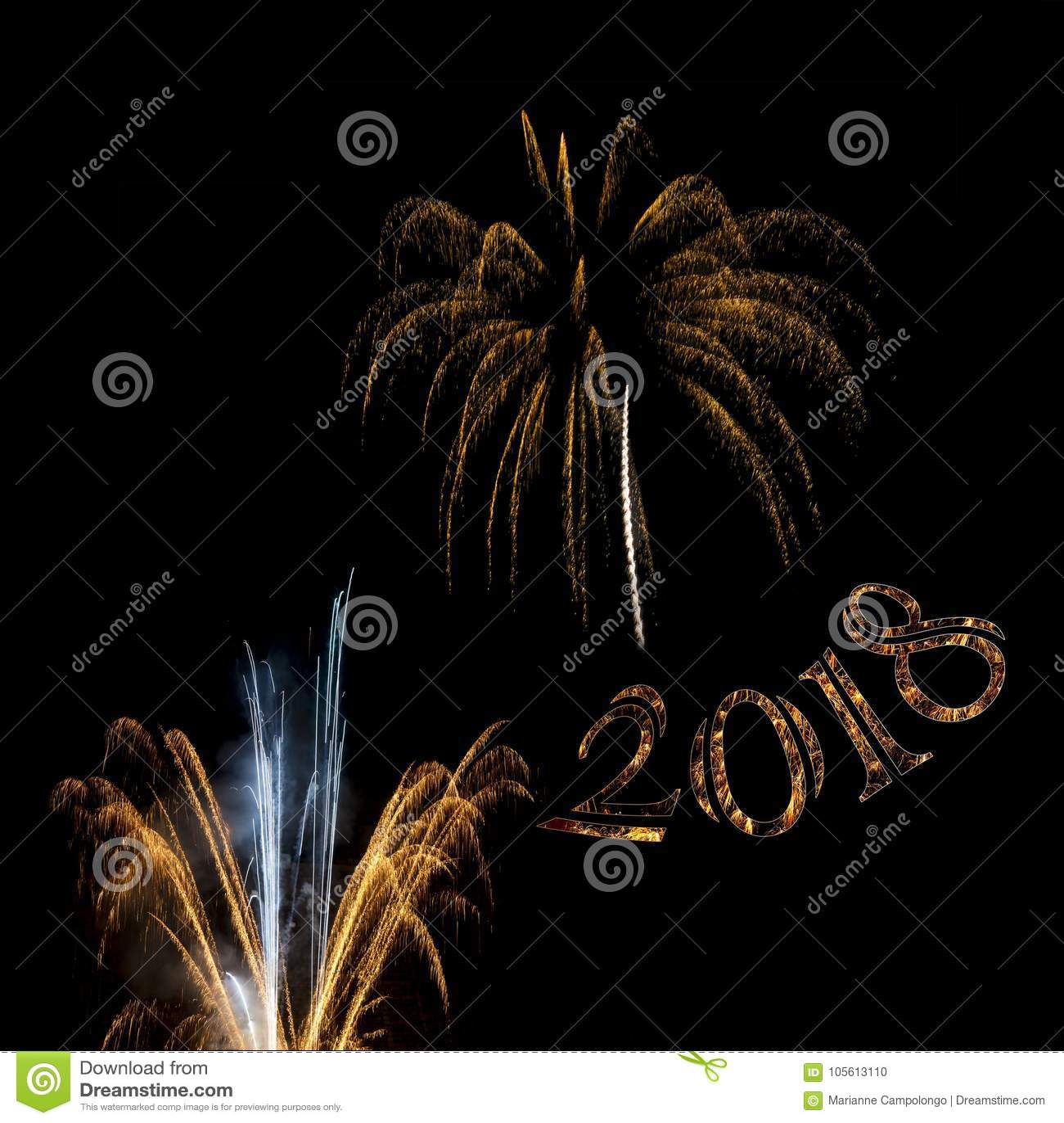 Fireworks 2018 Golden elements