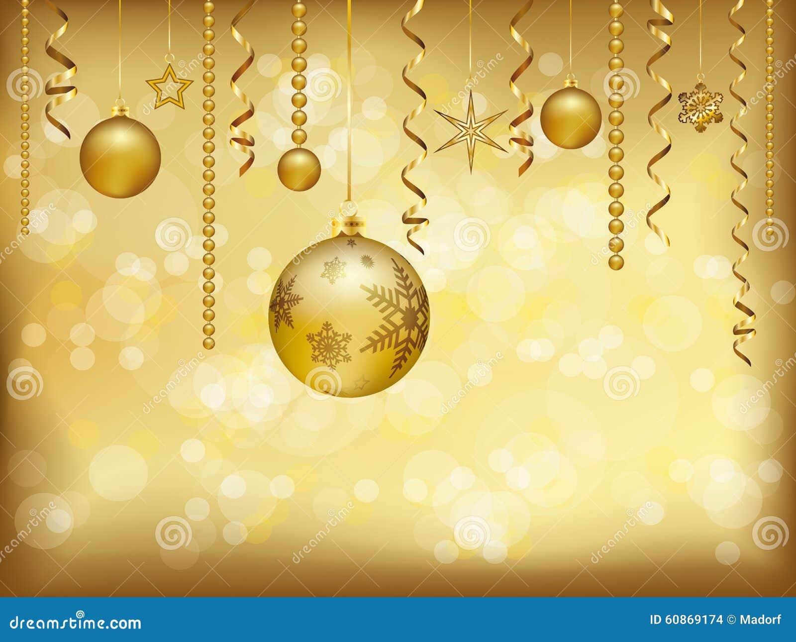 Elegant Christmas Background: Elegant Golden Christmas Background With Baubles And