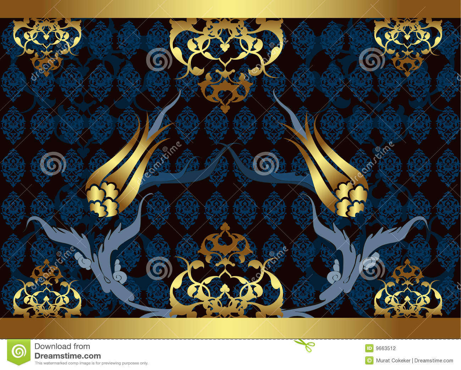 Elegant Golden Traditional Ottoman Turkish Design Stock ...