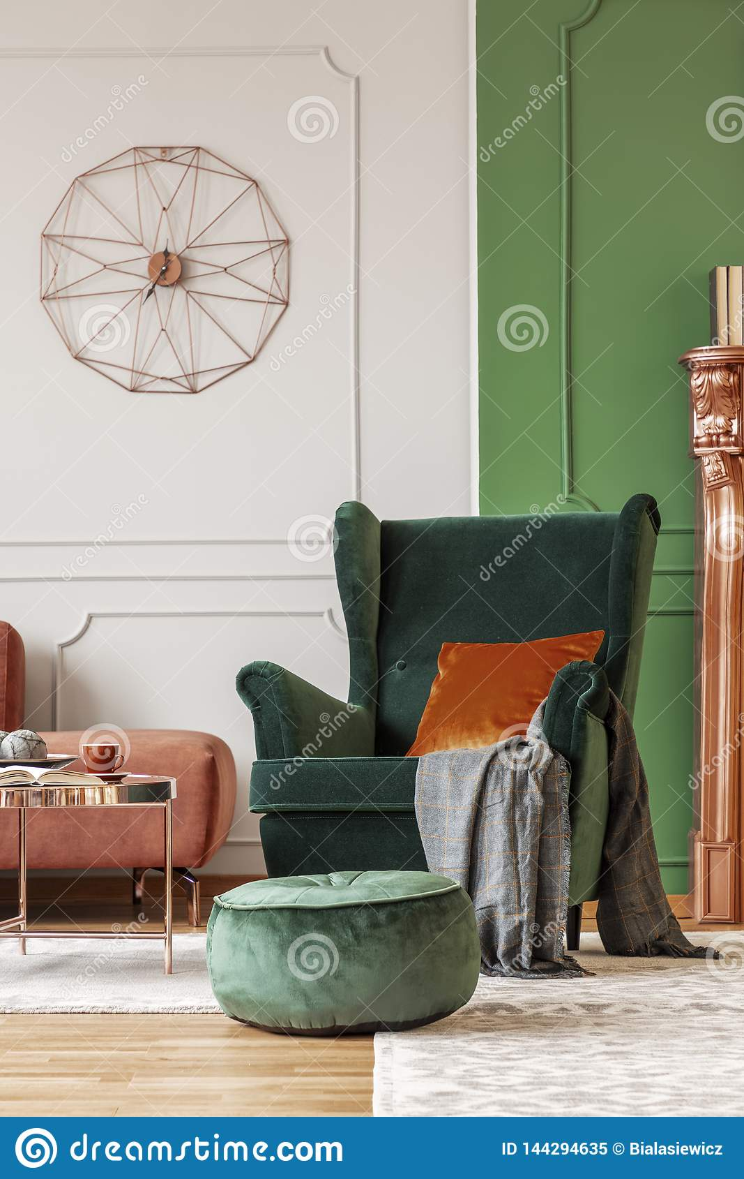 Stupendous Elegant Green Armchair With Dark Orange Pillow Stock Image Spiritservingveterans Wood Chair Design Ideas Spiritservingveteransorg
