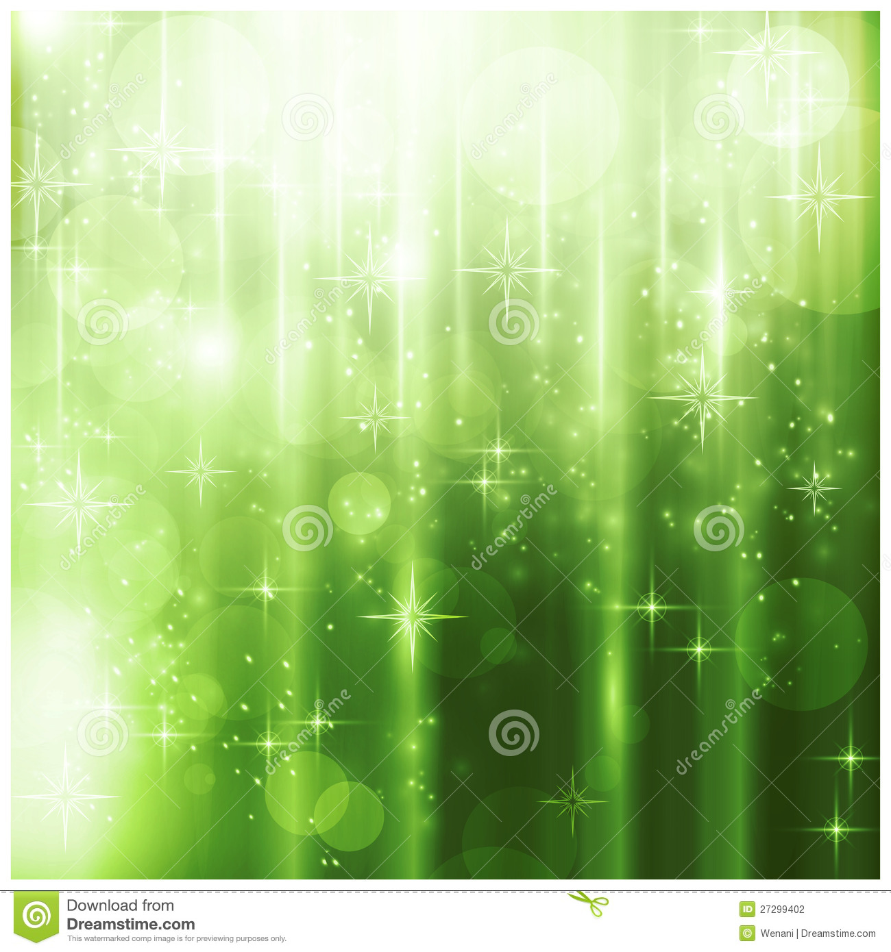 Elegant Green Christmas Card With Sparkling Lights Stock Photography ...