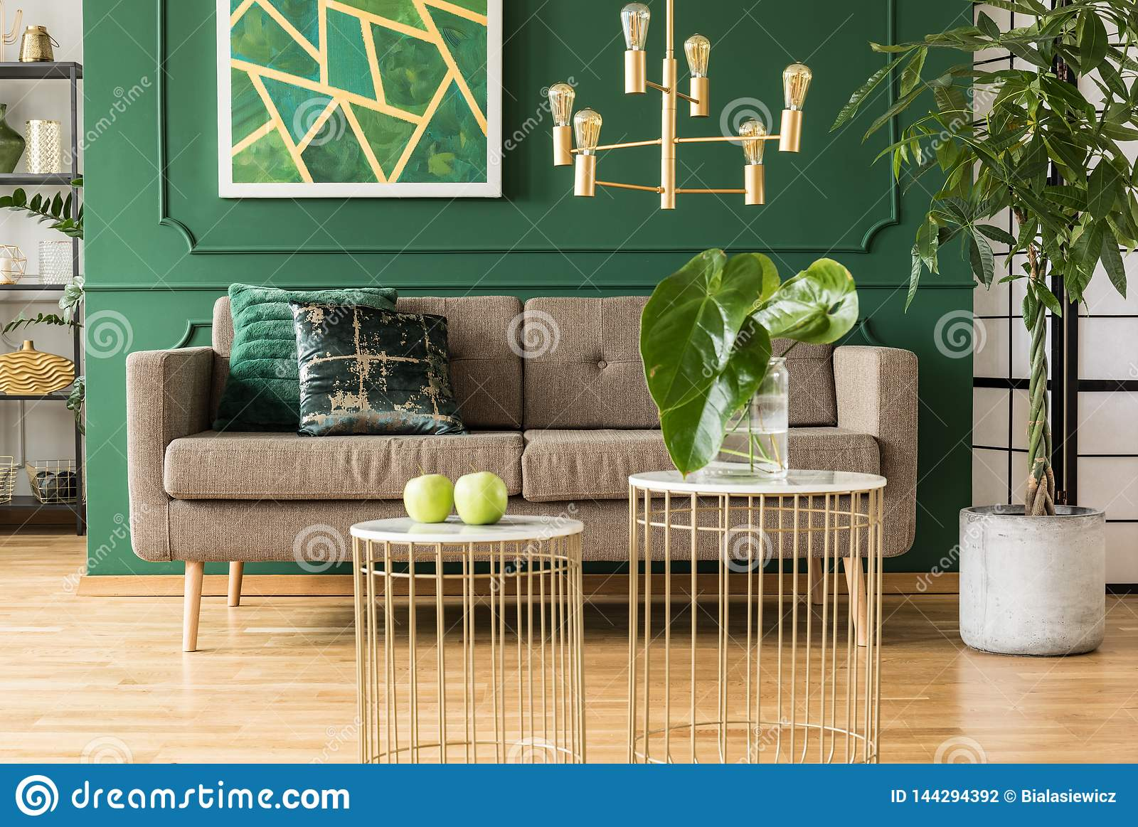 Elegant Green And Gold Living Room With Brown Sofa Coffee