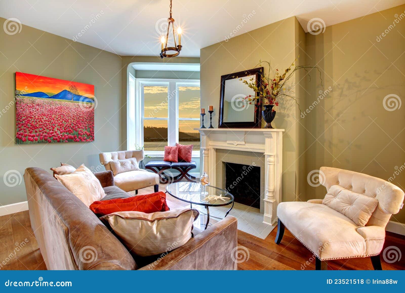 Living room green walls - Brown Elegant Green Living Room