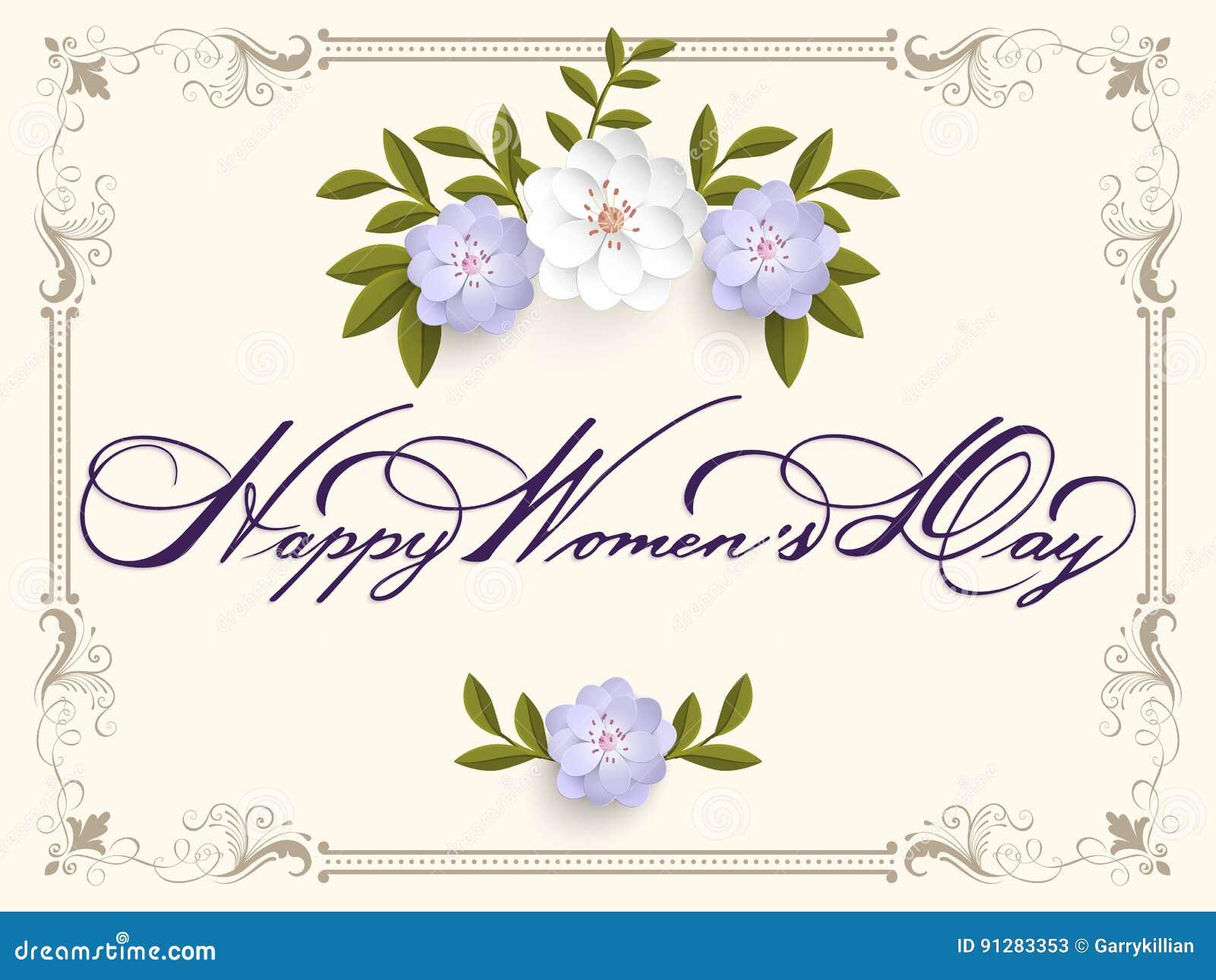 Elegant hälsning för kort 8 för kvinna` s för mars internationell dag