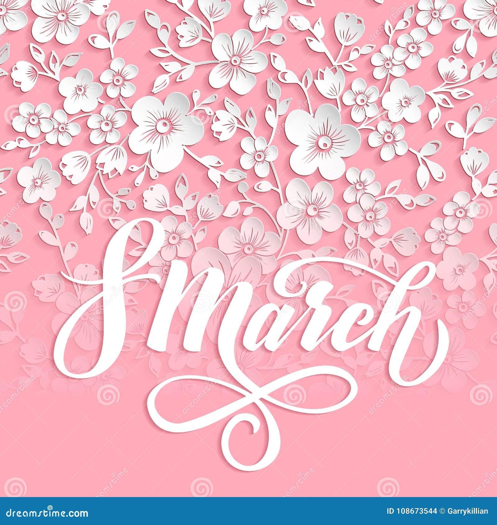Elegant hälsning för kort 8 internationella kvinnors för marsch dag Vektorkort med den härliga sakura blommabeståndsdelen och ele