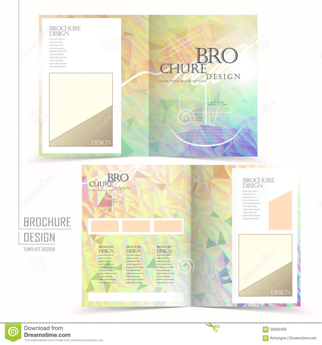 elegant brochure template - elegant half fold brochure template design stock vector