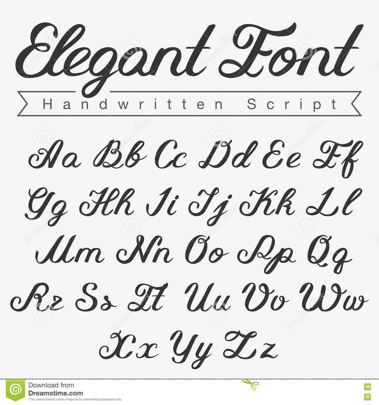 Download Elegant Handwritten Calligraphy Script Font Design Stock Illustration