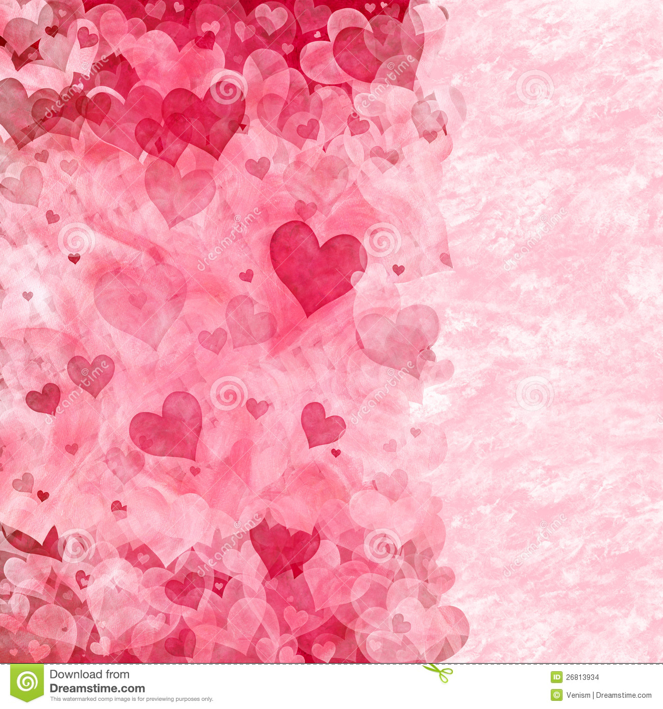 Elegant background with transparent pink and red hearts and copy