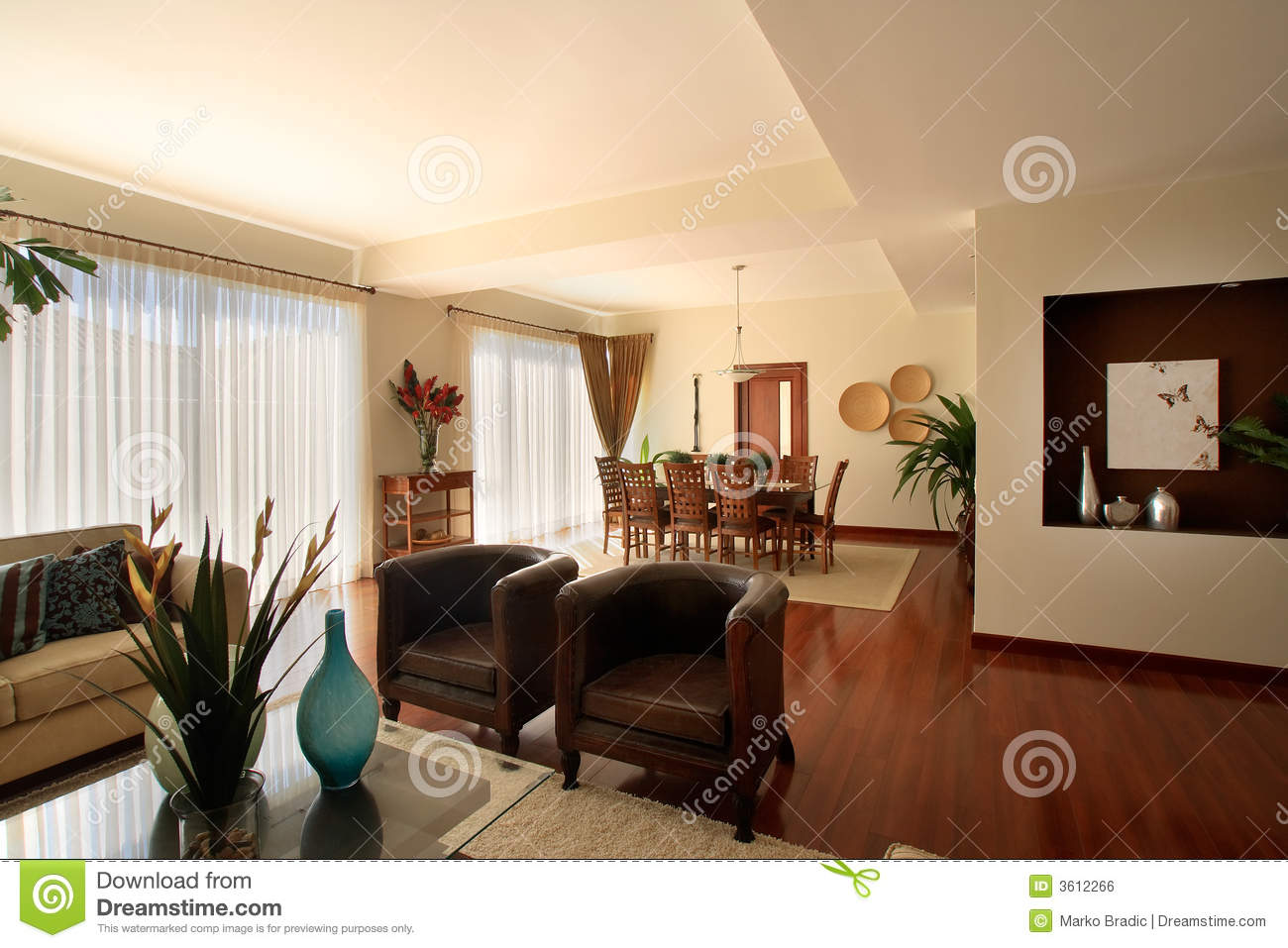 Elegant home living room with dining area royalty free for Living room and dining room together