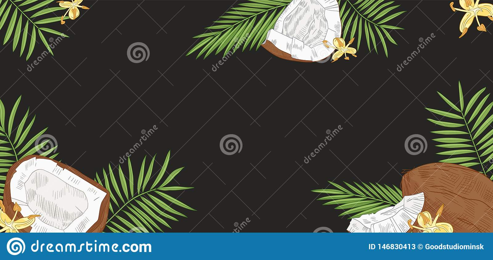 Elegant horizontal background with coconuts, palm tree leaves and flowers on black background. Backdrop with fresh