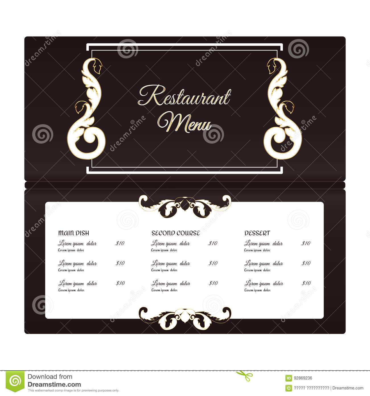 Elegant horizontal restaurant menu template it is for Horizontal menu templates free download