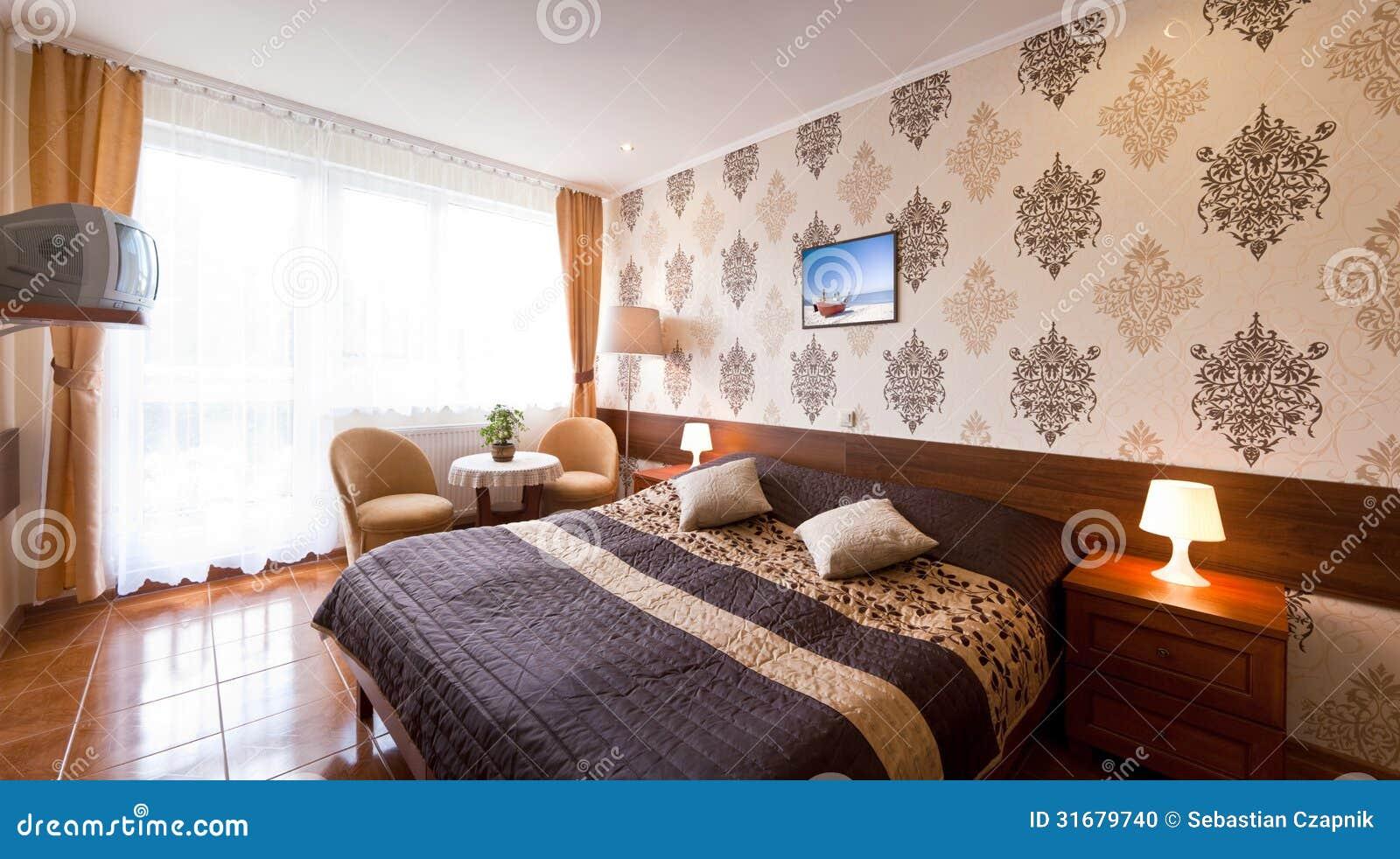 Elegant hotel room stock photo. Image of television ...