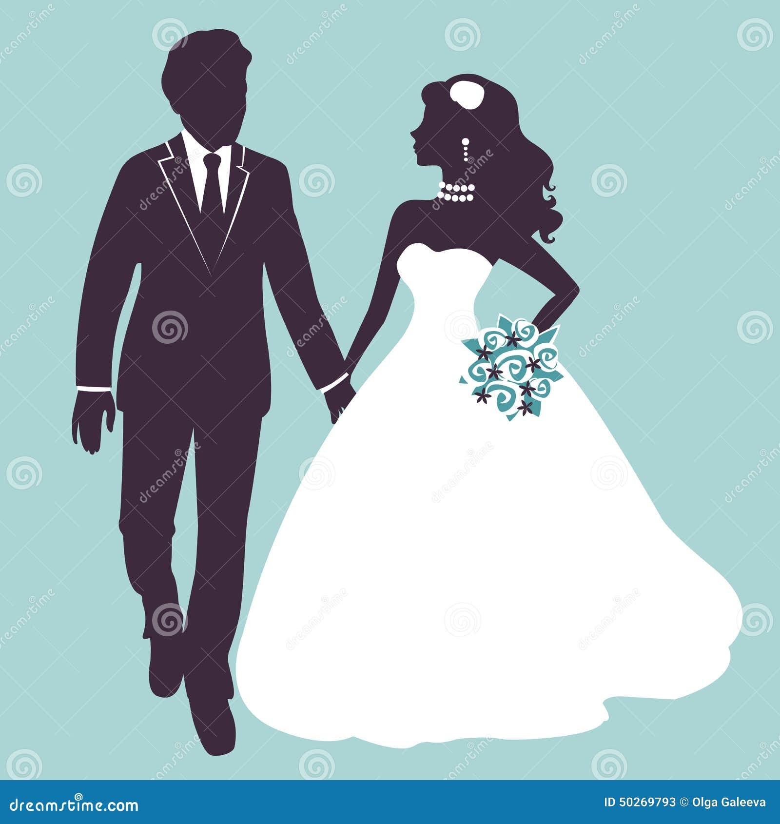 Elegant huwelijkspaar in silhouet