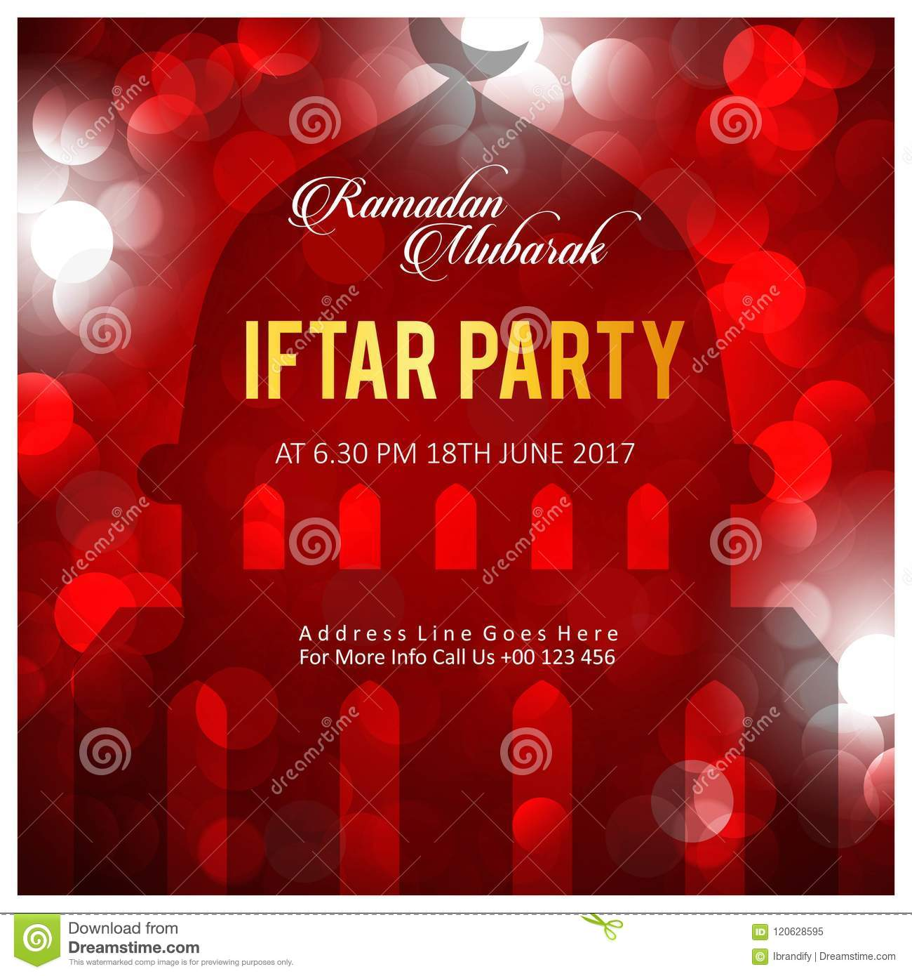 Elegant Iftar Party Invitation Card Design Decorated With Blacki ...