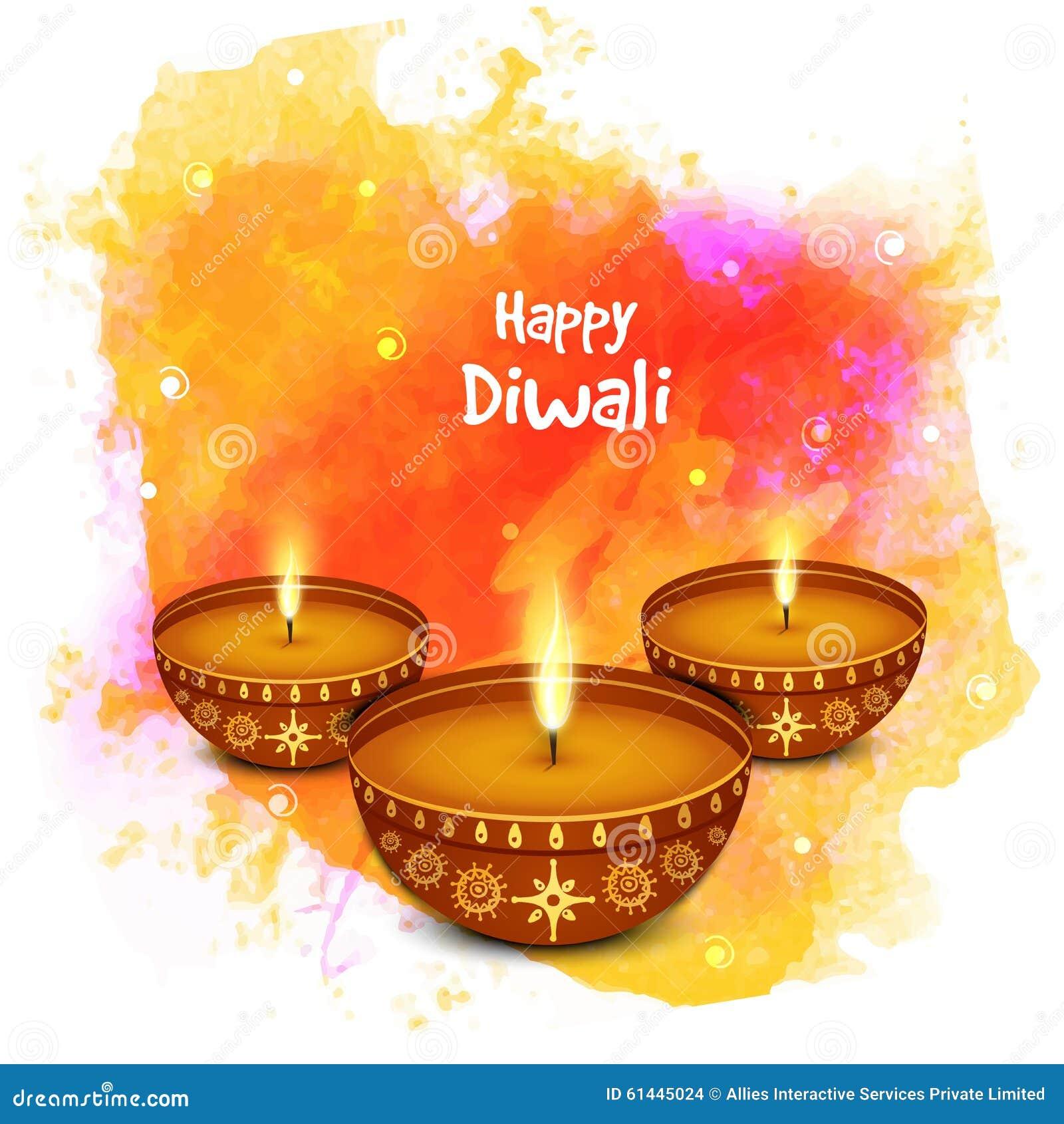 Elegant Illuminated Lit Lamps For Happy Diwali Celebration ... Indian Religious Background