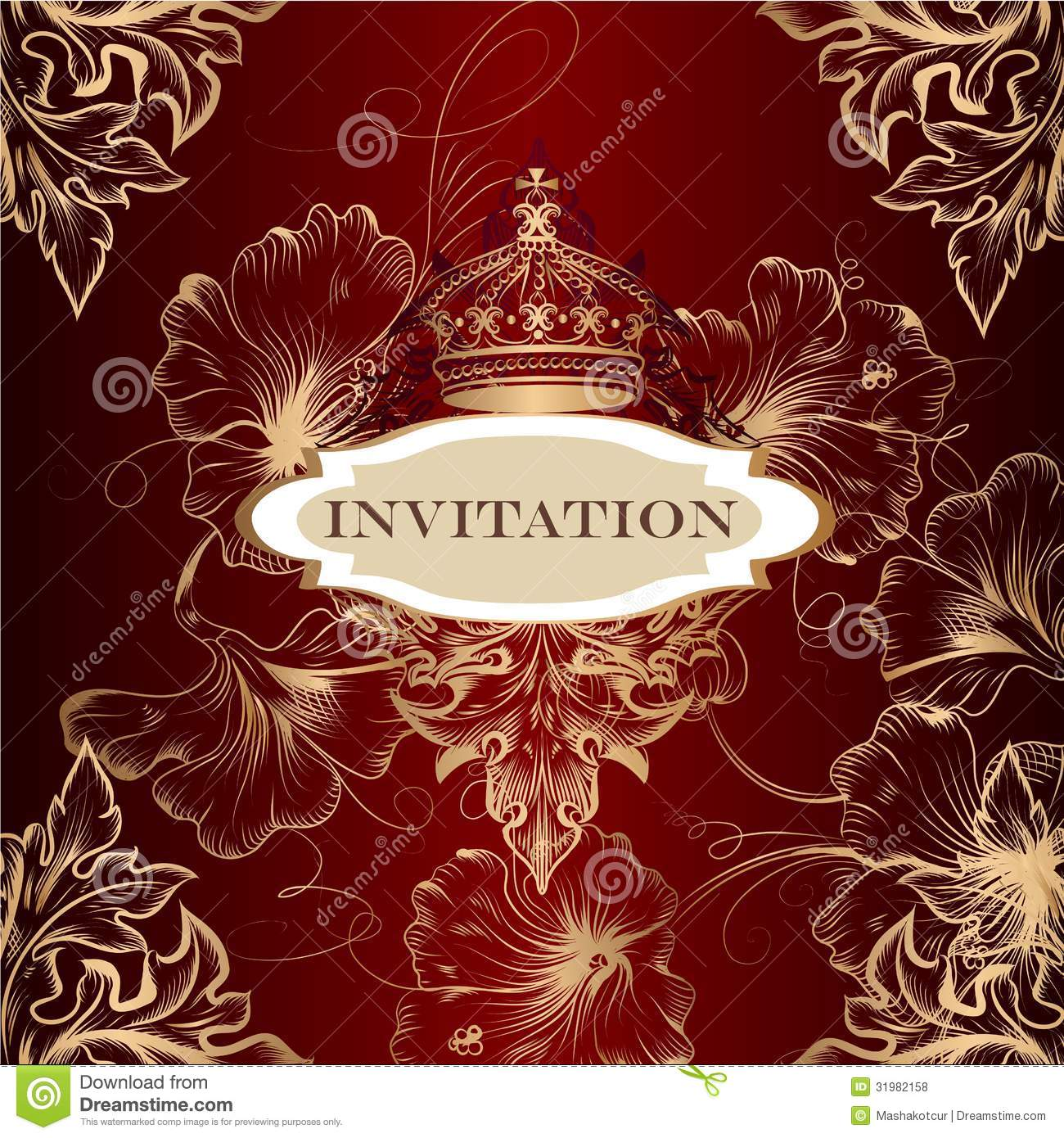 elegant invitation card with crown and ornament stock