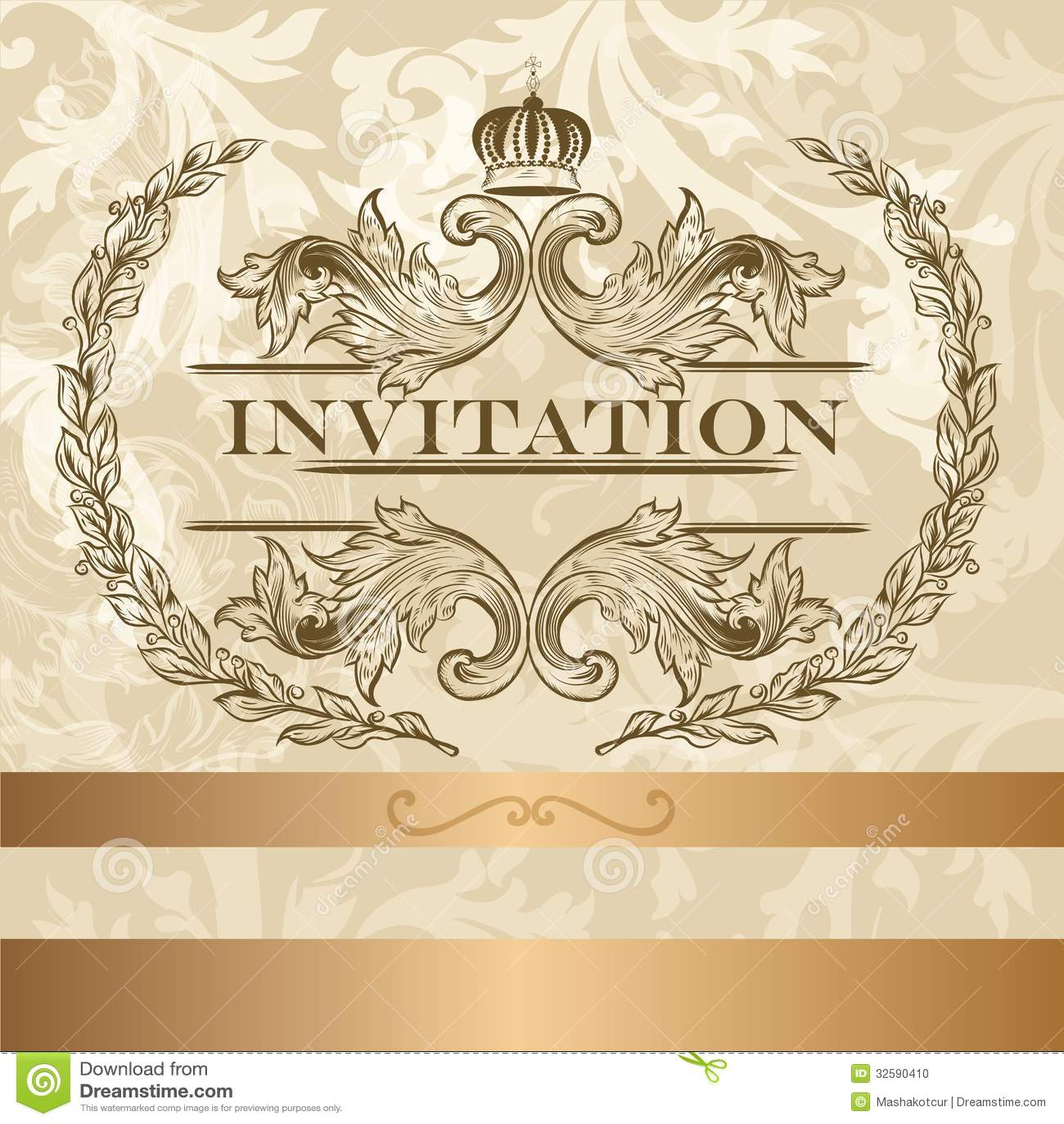 Elegant Invitation Card In Light Colors Stock Photo