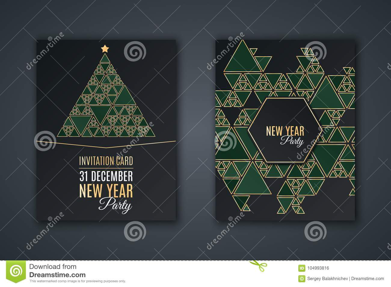 elegant invitation card for new years party pattern mosaic of green triangles with