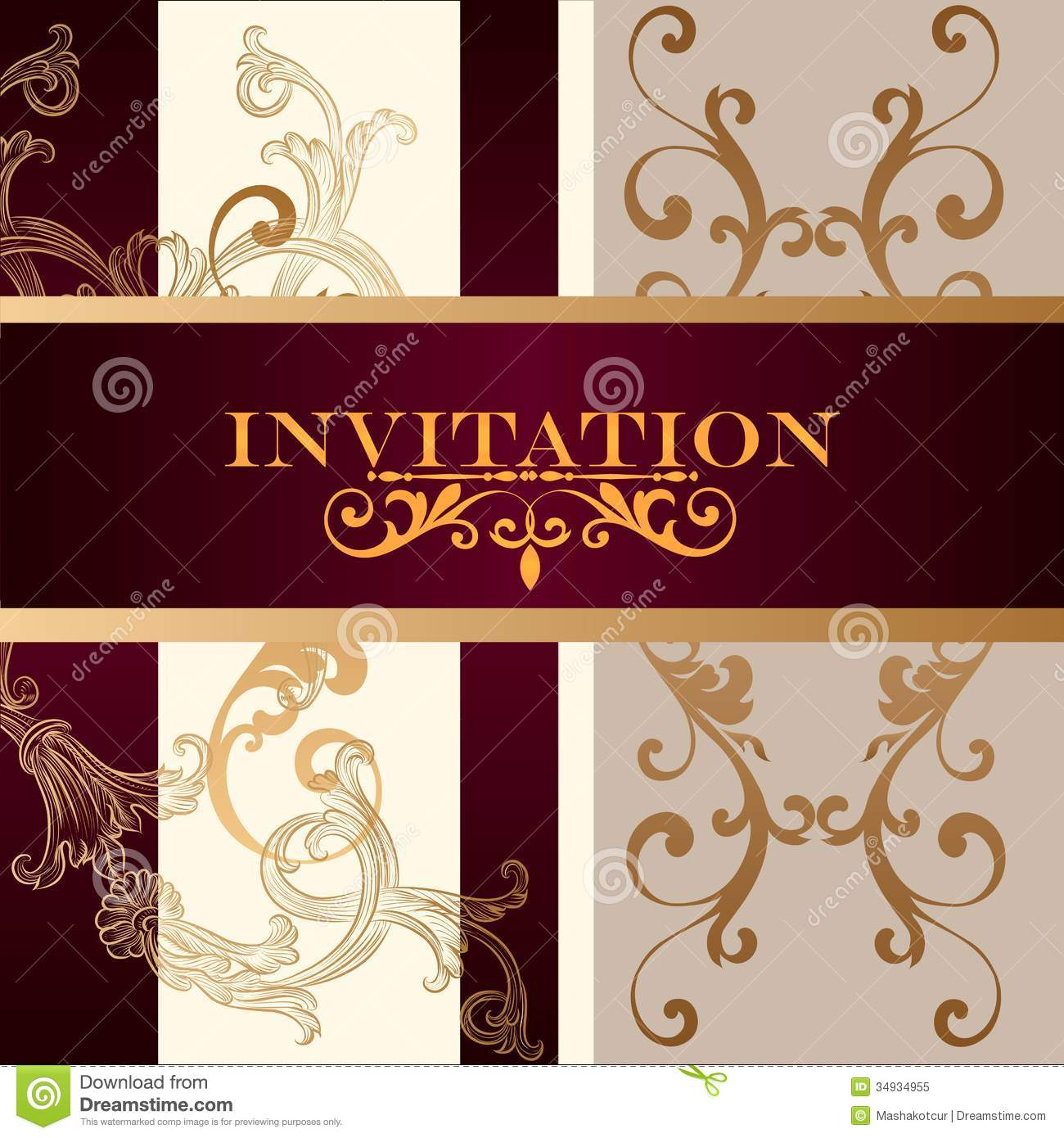 Elegant Invitation Card With Ornament Stock Vector - Illustration of ...