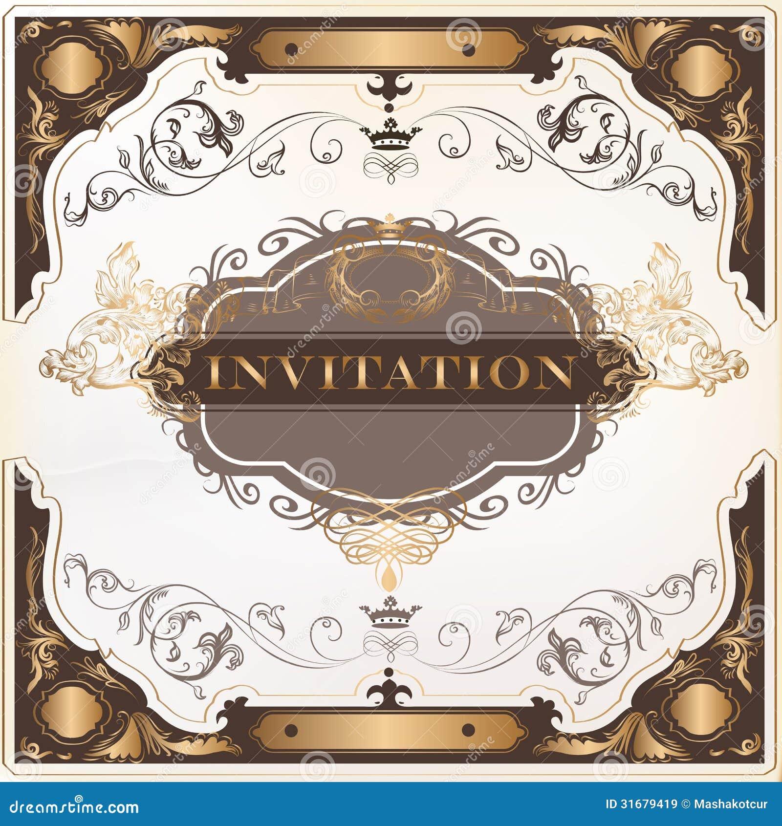 Royalty Free Stock Images Elegant Invitation Vector Card Design Classic Wedding Menu Retro Image31679419 on Victorian Ornamental Border Brown