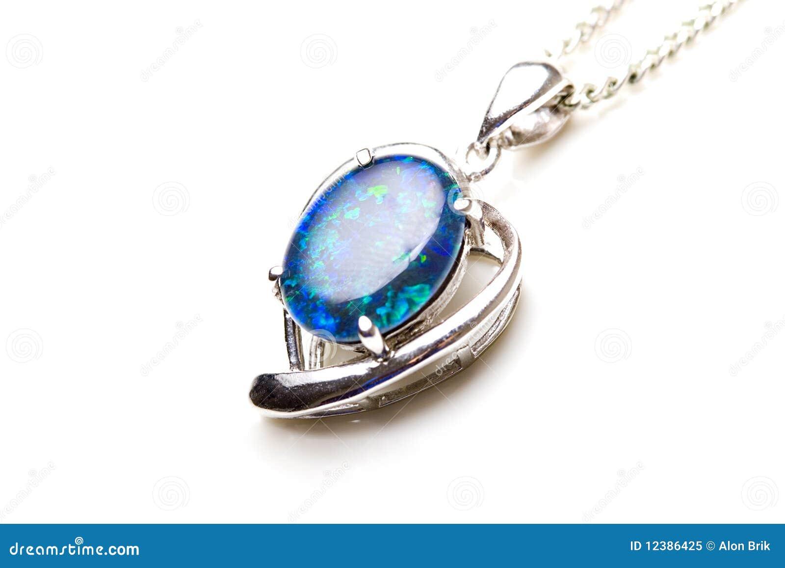 Elegant Jewelry Opal Stone Silver Pendant Heart Stock Image Image