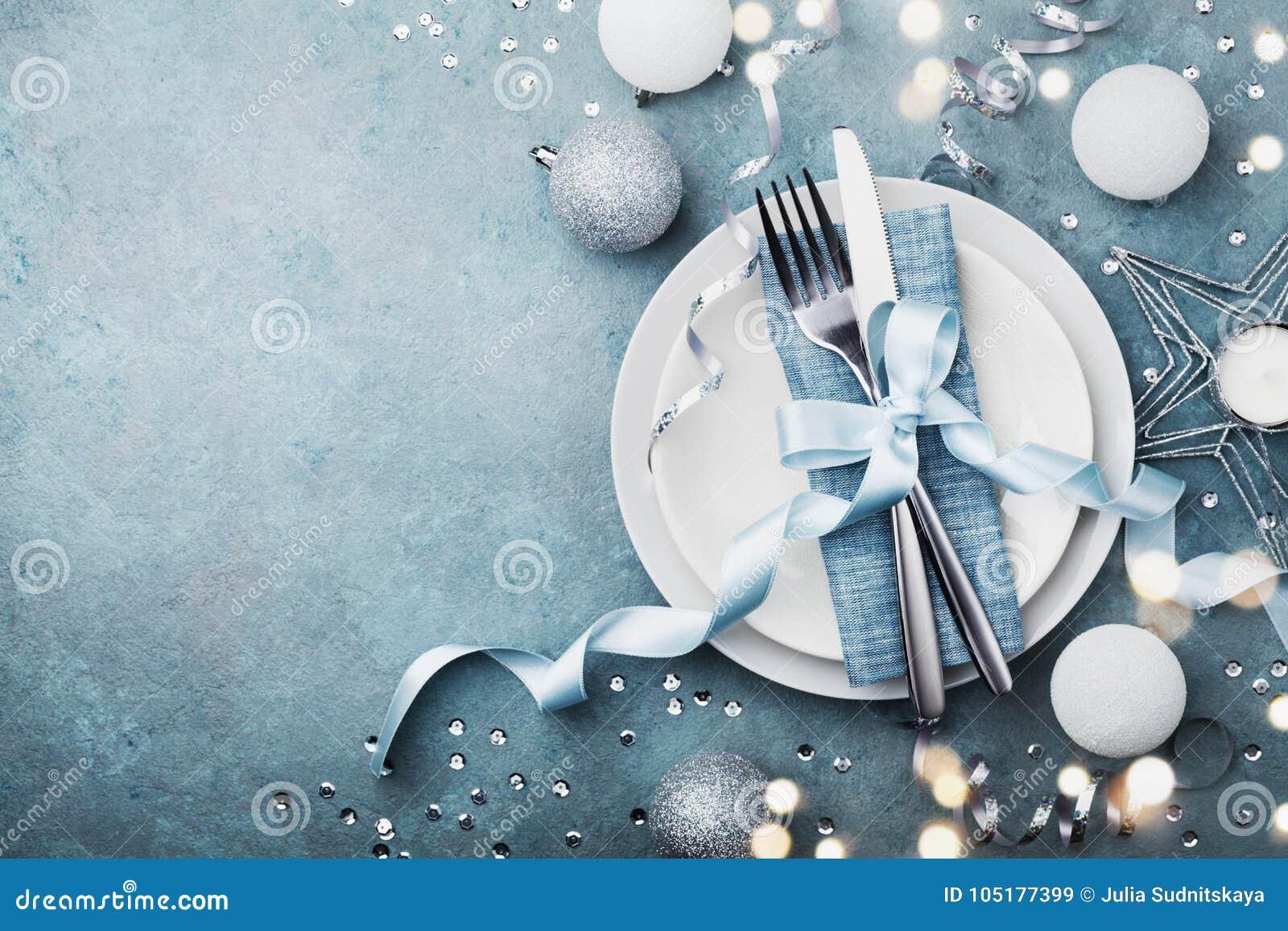 Elegant jul bordlägger inställningen för bästa sikt för feriematställe Tomt avstånd för text Bokeh verkställer
