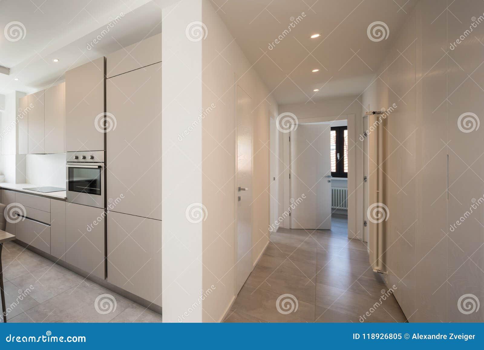 Elegant kök och korridor med strålkastare i modern lägenhet
