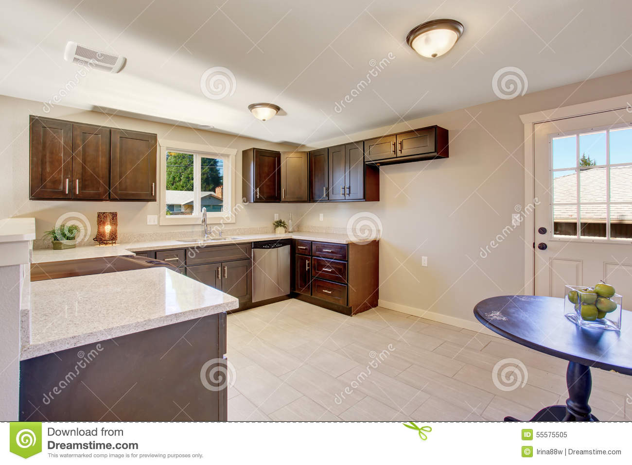 Elegant Kitchen With Stained Cabinets Stock Photo Image