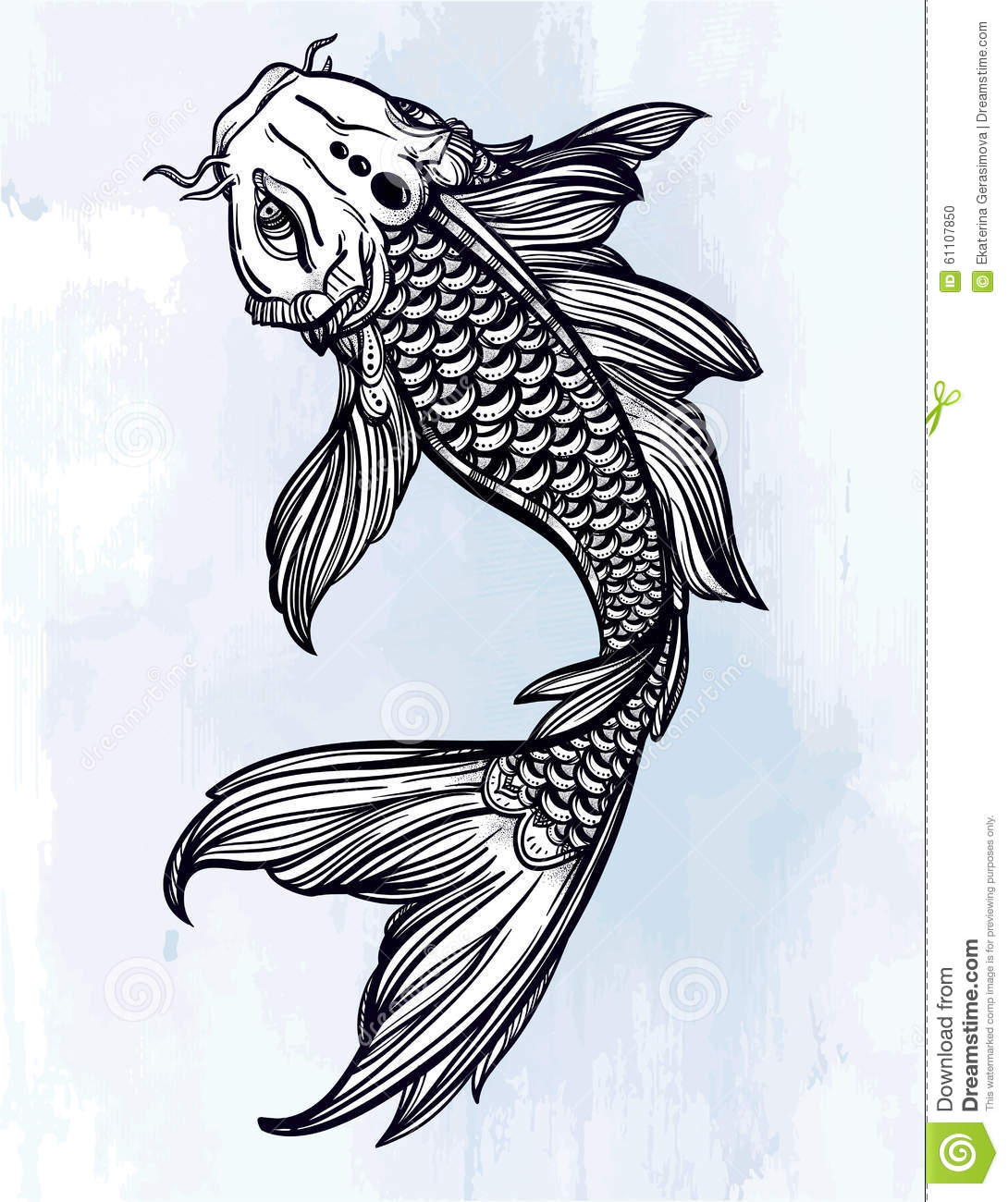 Elegant koi carp fish illustration stock vector image for Koi fish vector