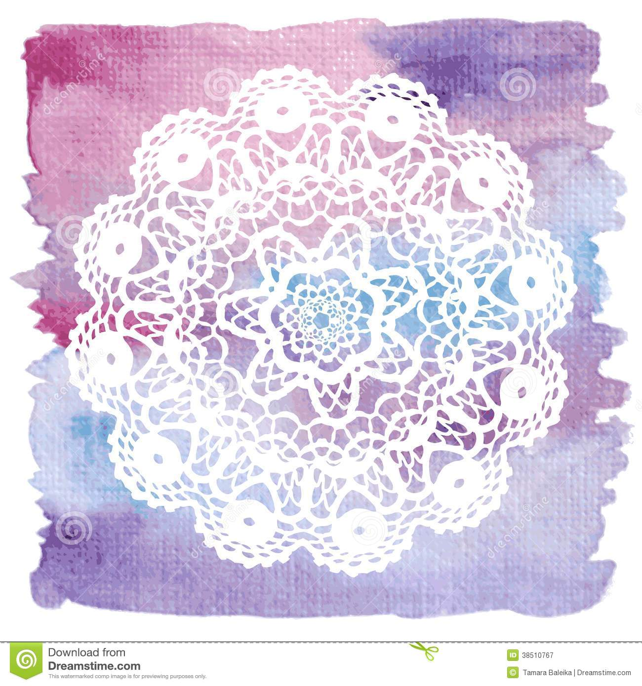 Crochet Wedding Invitations: Elegant Lacy Doily. Crochet Mandala. Royalty Free Stock