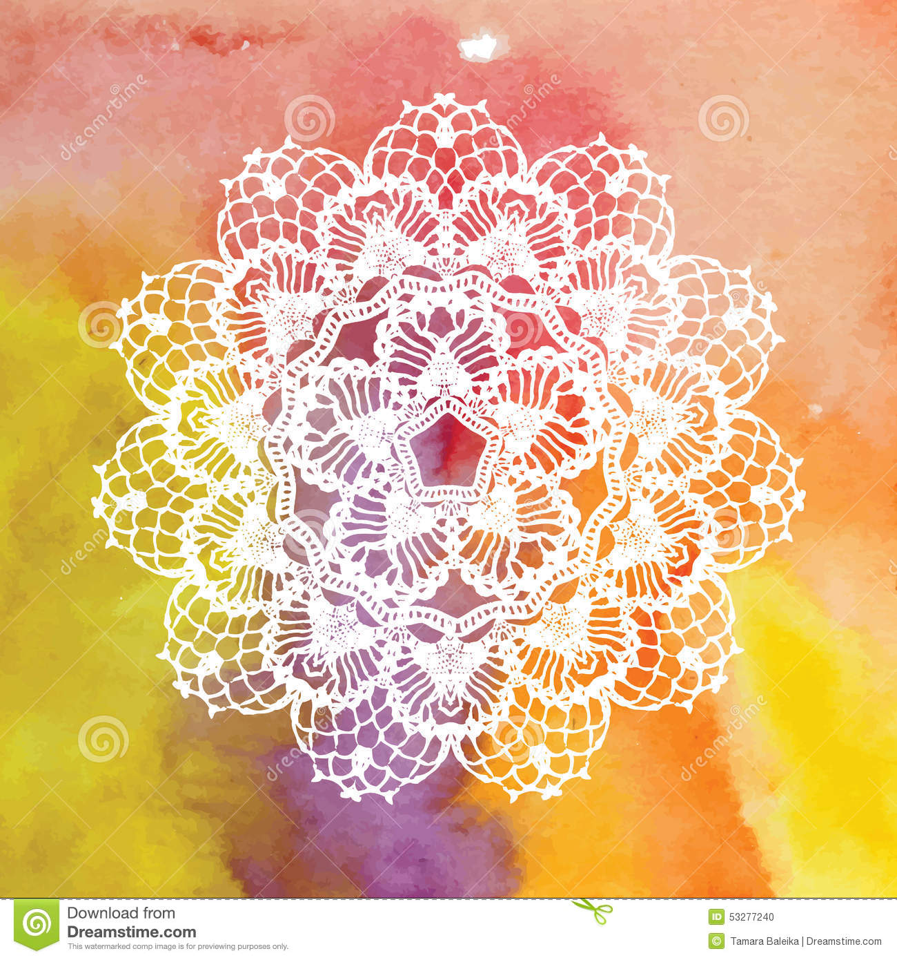 Crochet Wedding Invitations: Elegant Lacy Doily. Crochet Mandala. Stock Vector