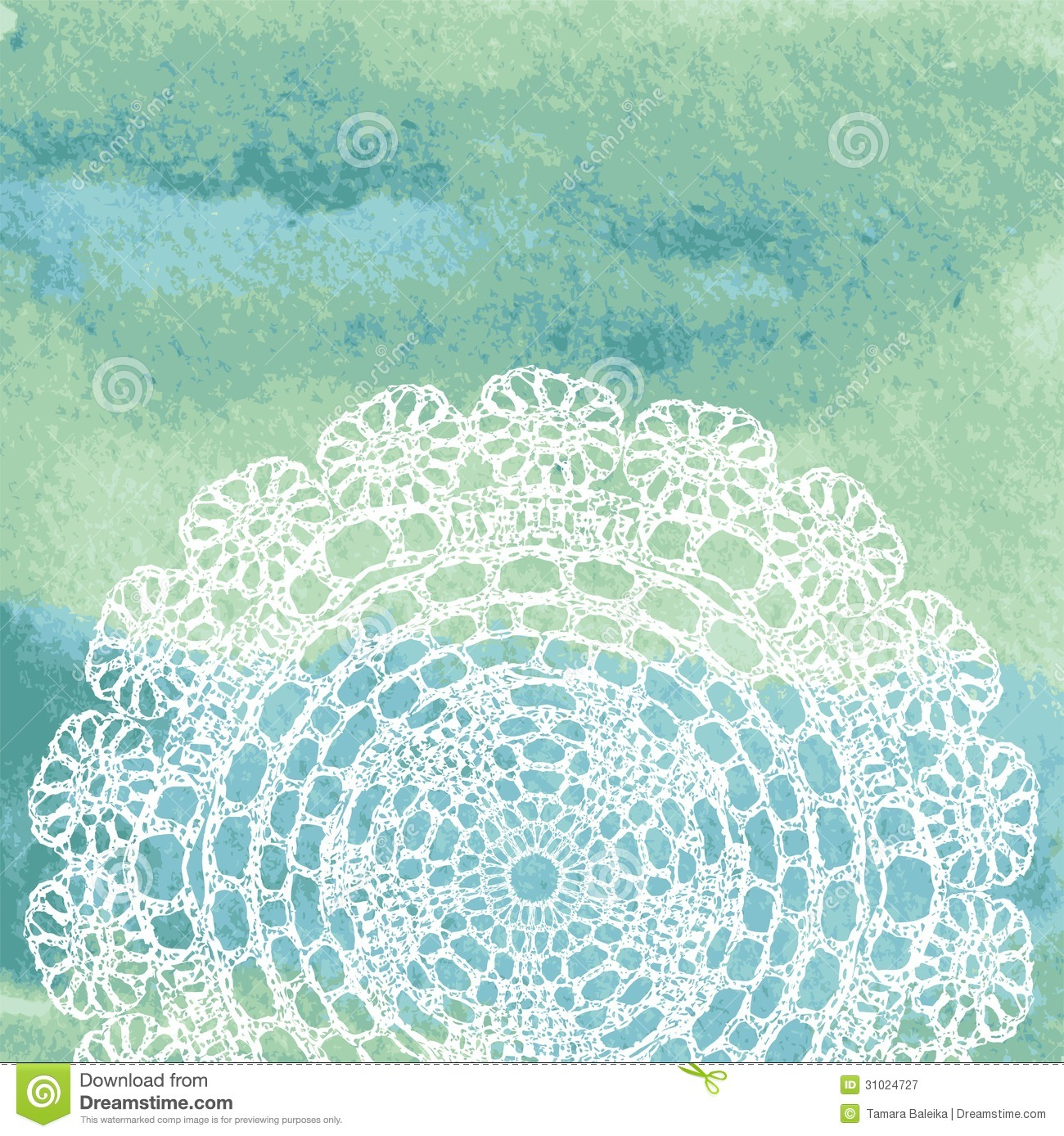 elegant lacy doily on watercolor background  stock vector