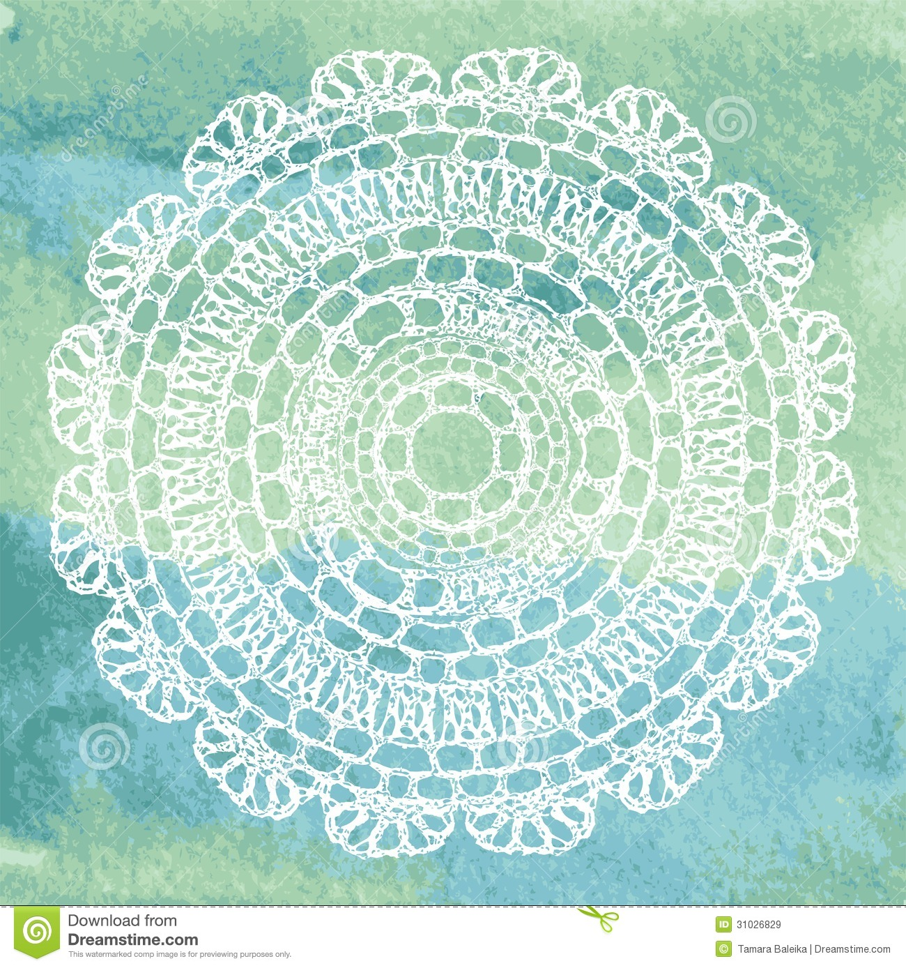 Elegant Lacy Doily On Watercolor Background. Stock Vector ...