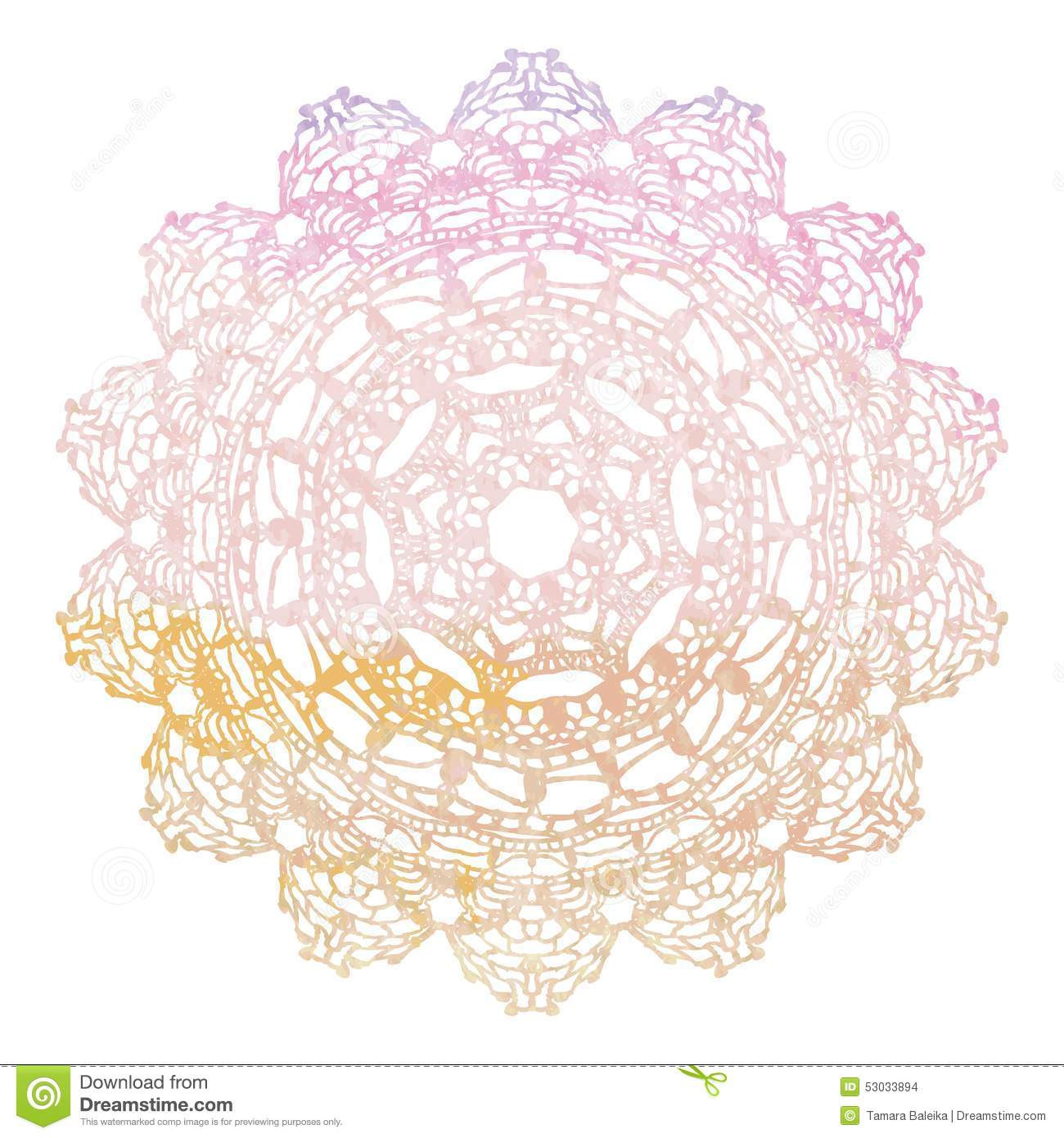 Crochet Wedding Invitations: Elegant Lacy Watercolor Doily. Crochet Mandala. Stock Vector