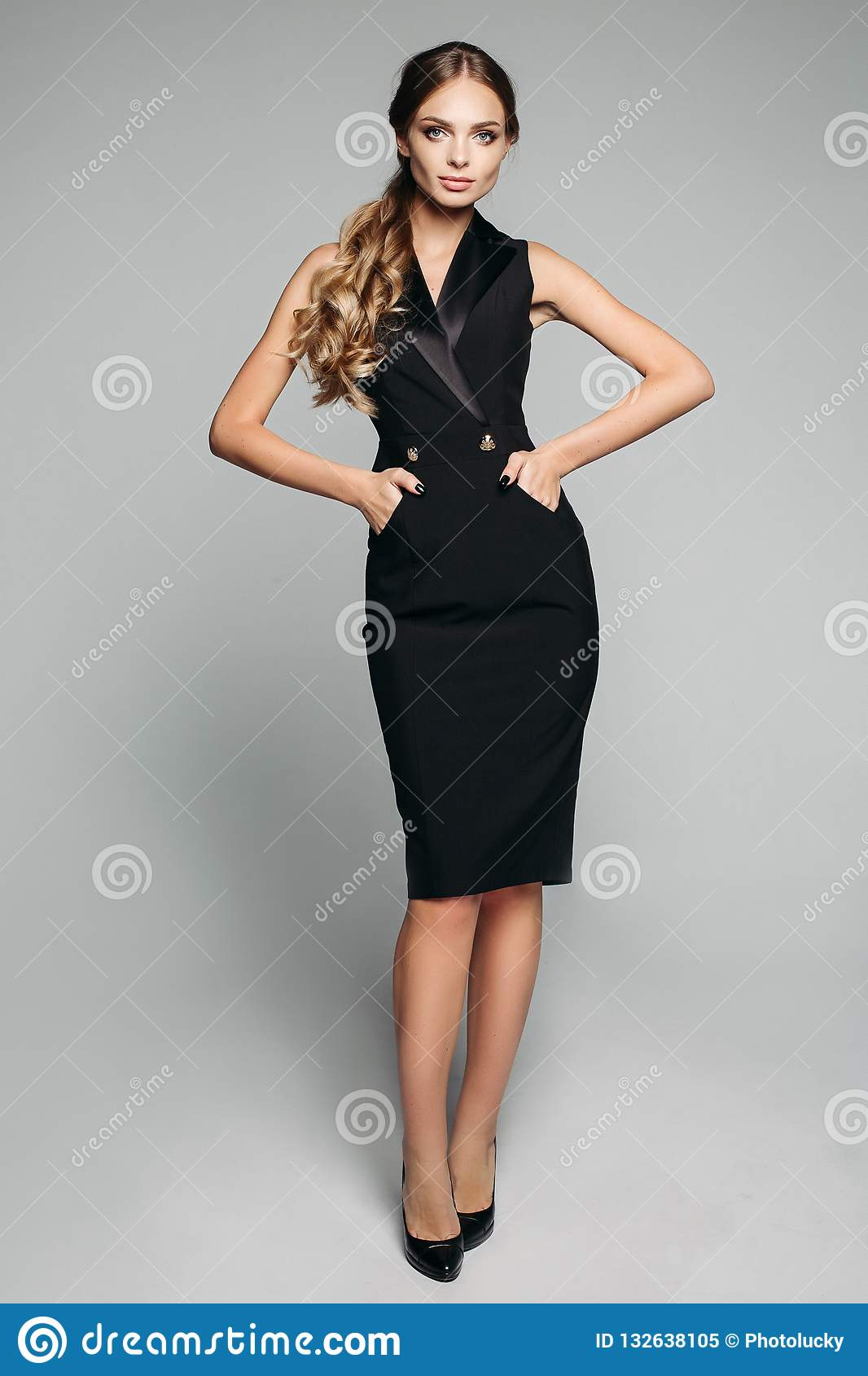 3d662eb628f2 Elegant Lady In Black Office Dress And Heels. Stock Image - Image of ...
