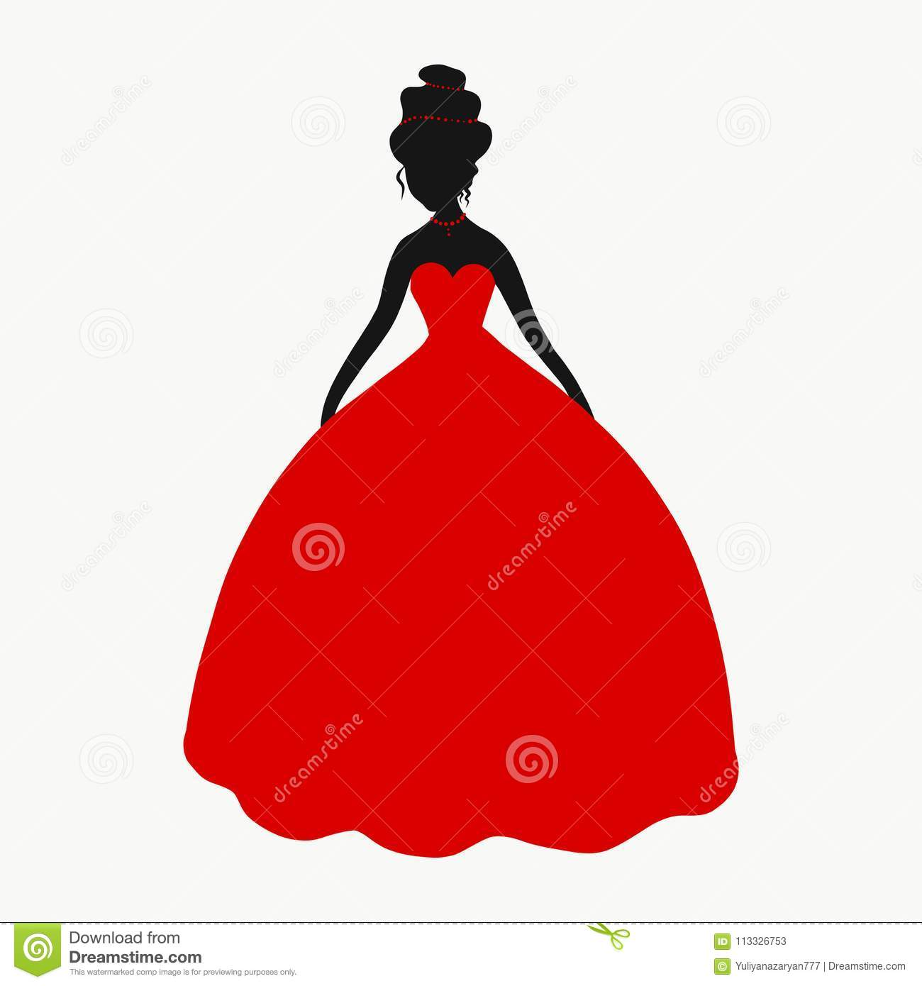 Elegant Lady In A Lush Red Dress Stock Illustration Illustration