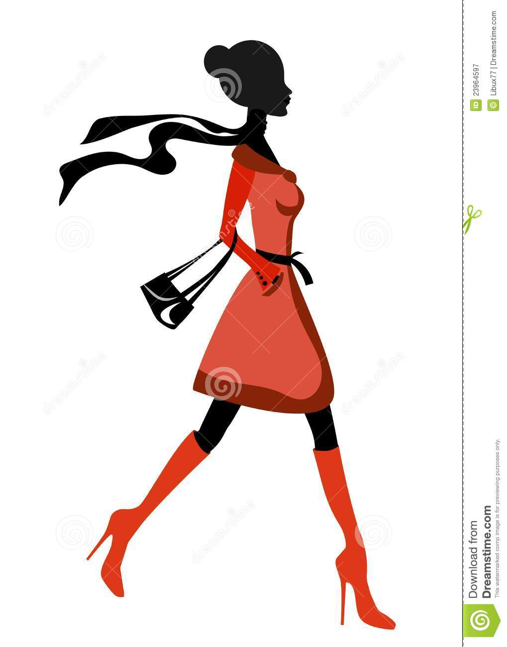 Elegant Lady Silhouette Walking Royalty Free Stock ...
