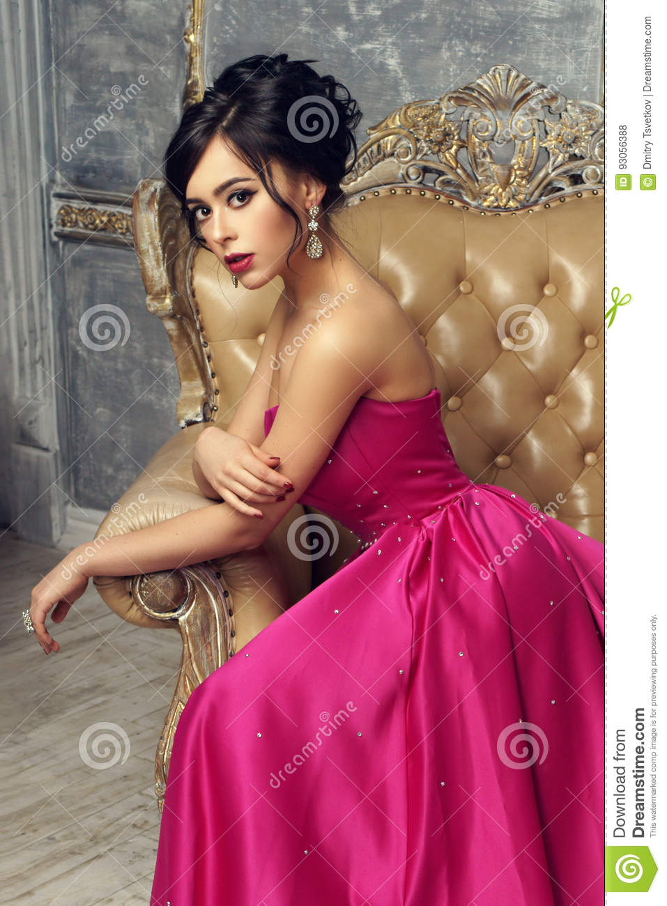 Elegant Lady Wearing Ball Gown Stock Photo Image Of Hairstyle