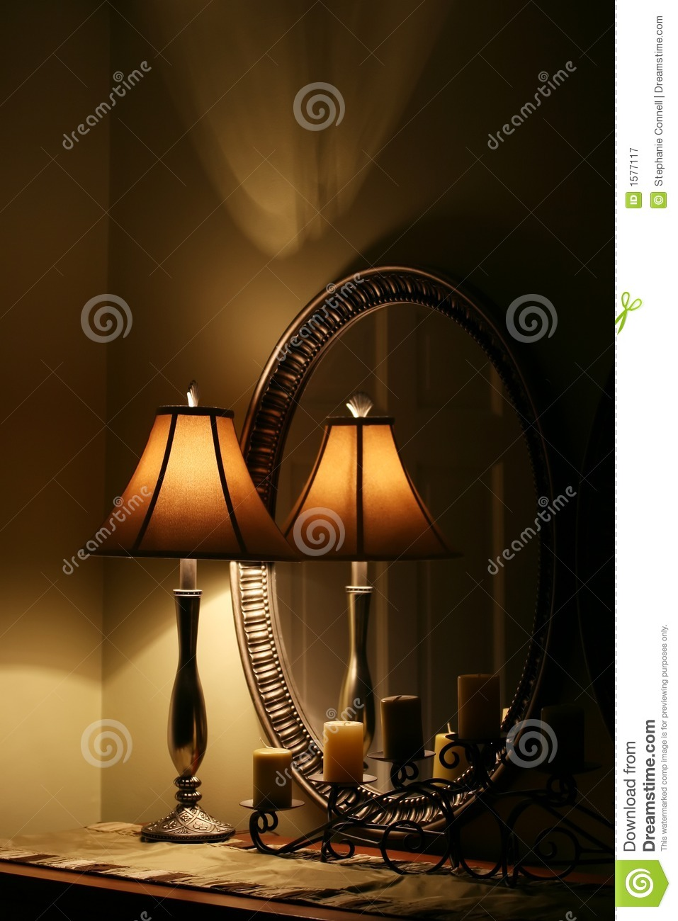 Elegant Lamp and Mirror on Table