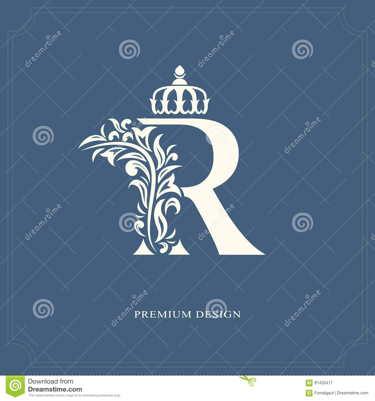 Vector Illustration Of Elegant Letter R With A Crown Graceful Royal Style Calligraphic Beautiful Logo Vintage Drawn Emblem For Book Design Brand Name