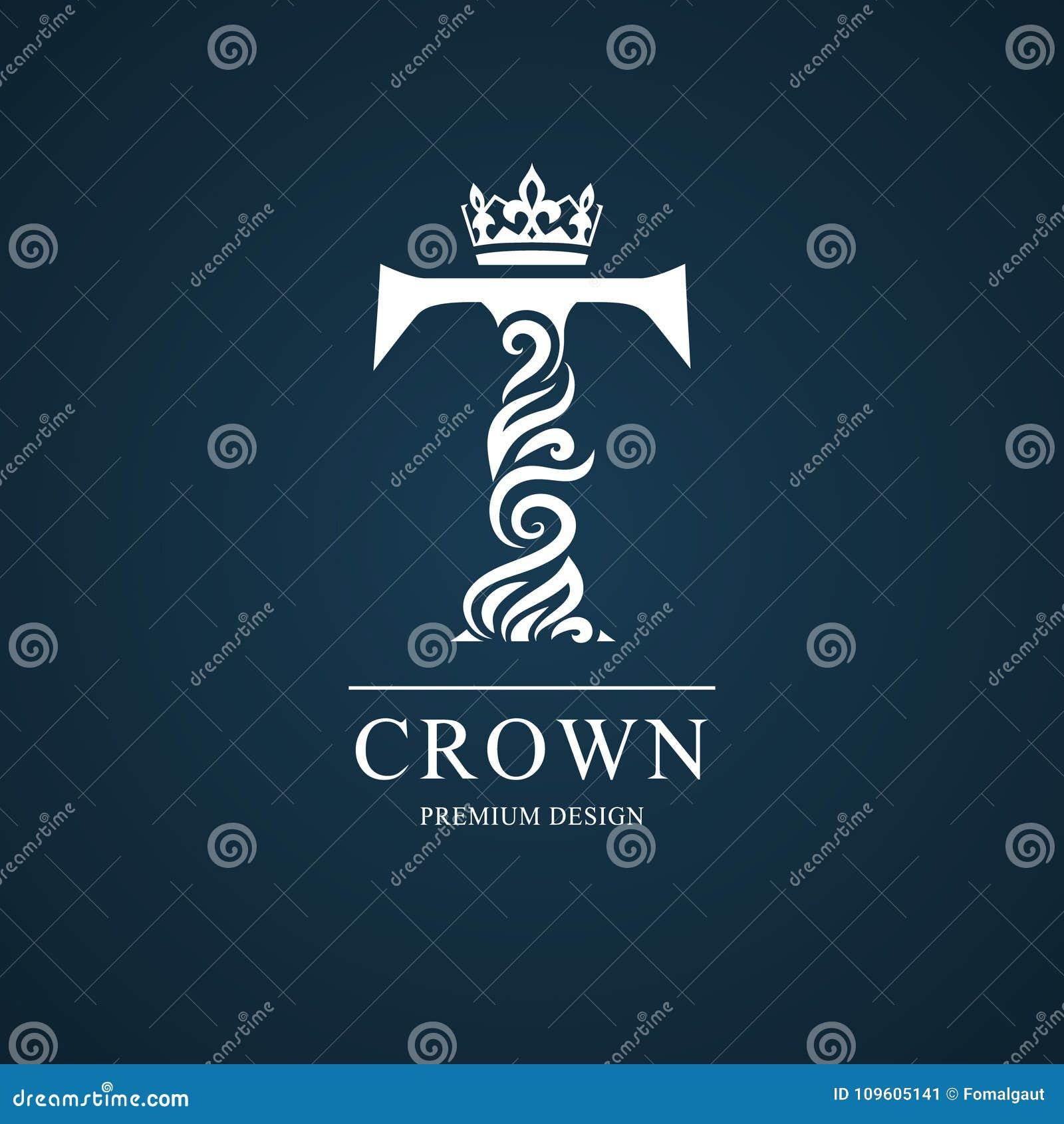 elegant letter t graceful royal style calligraphic